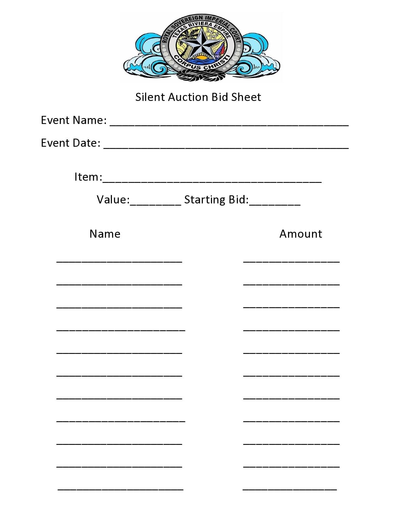 silent auction bid sheet 10