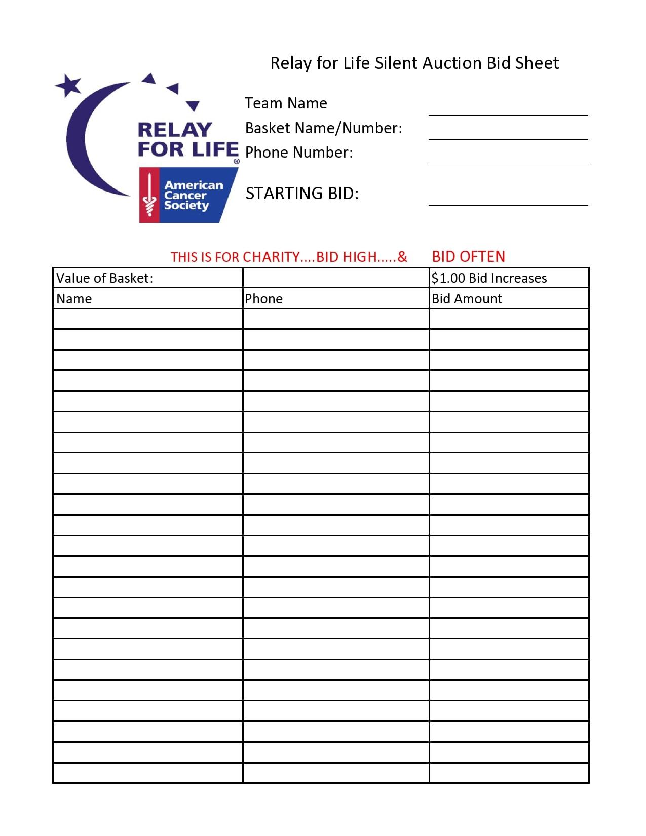 silent auction bid sheet 12