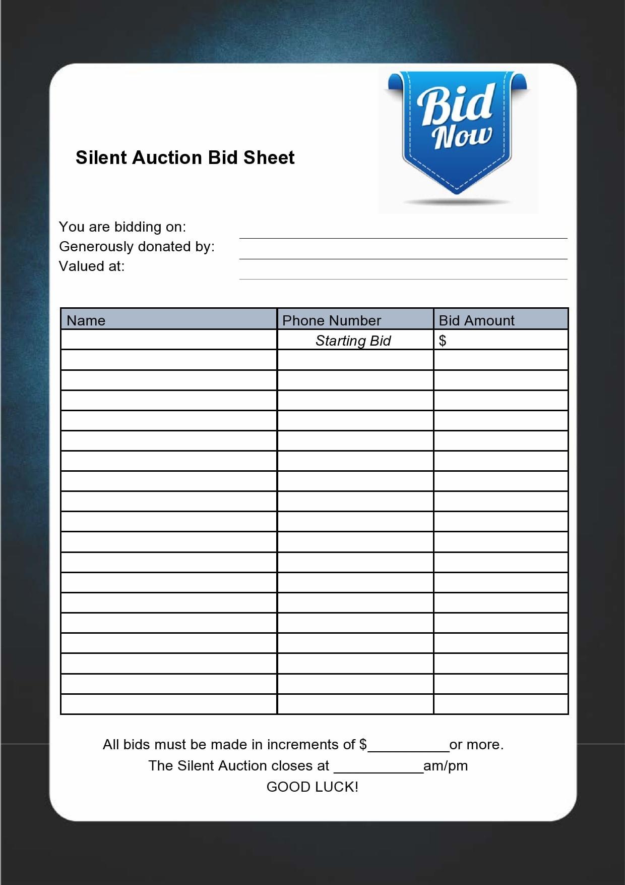 silent auction bid sheet 14