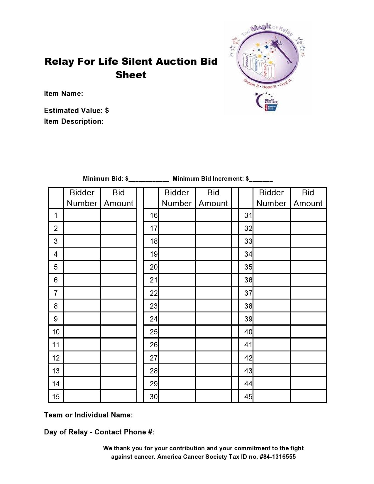 silent auction bid sheet 15