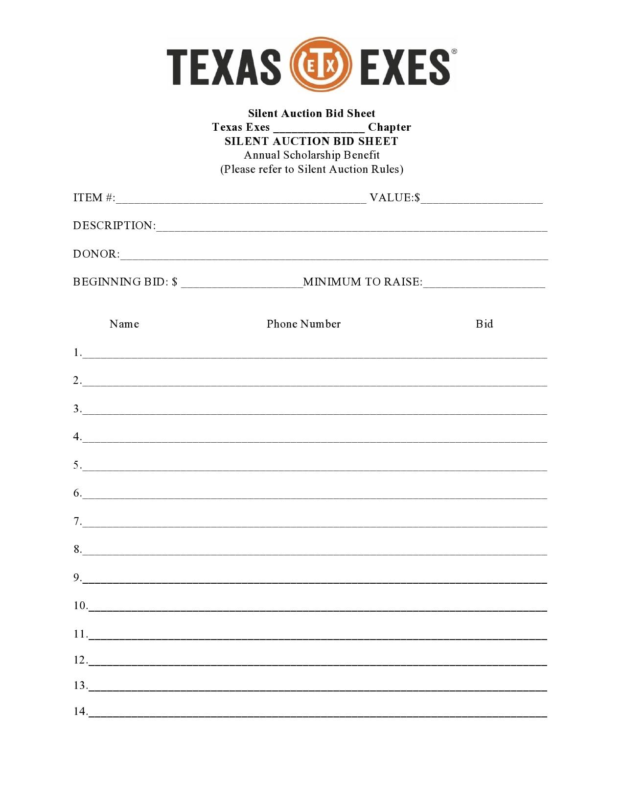 silent auction bid sheet 17