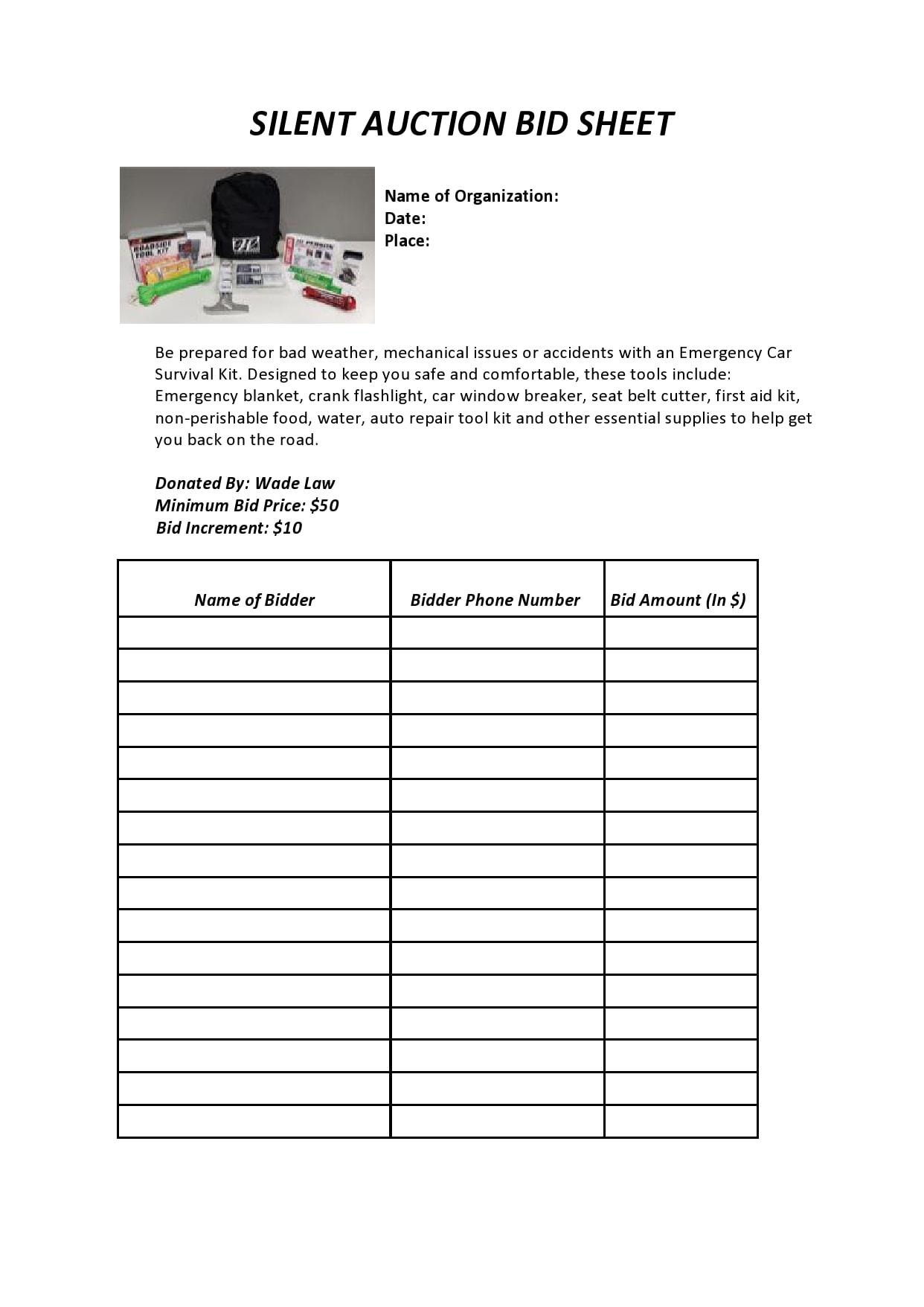 silent auction bid sheet 20