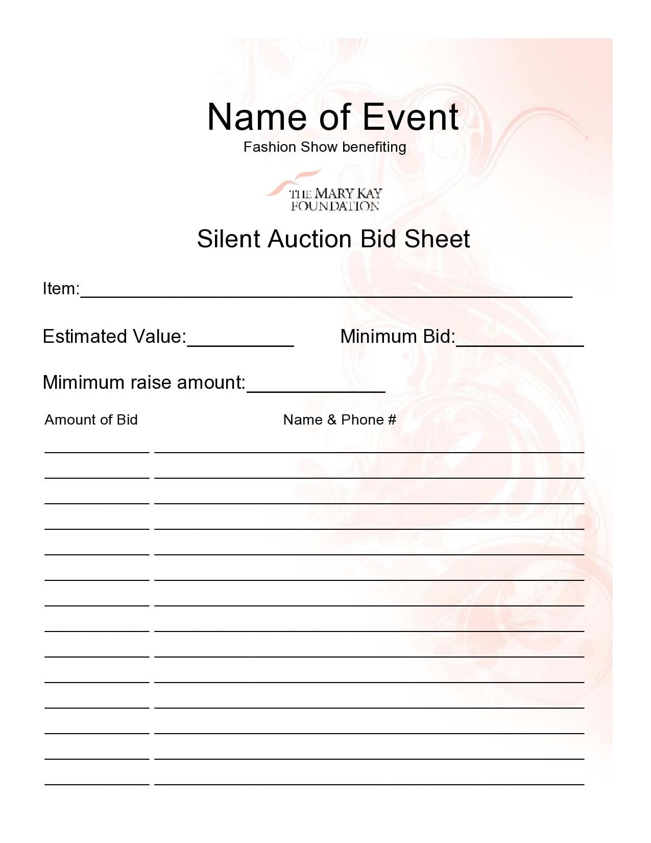 silent auction bid sheet 23
