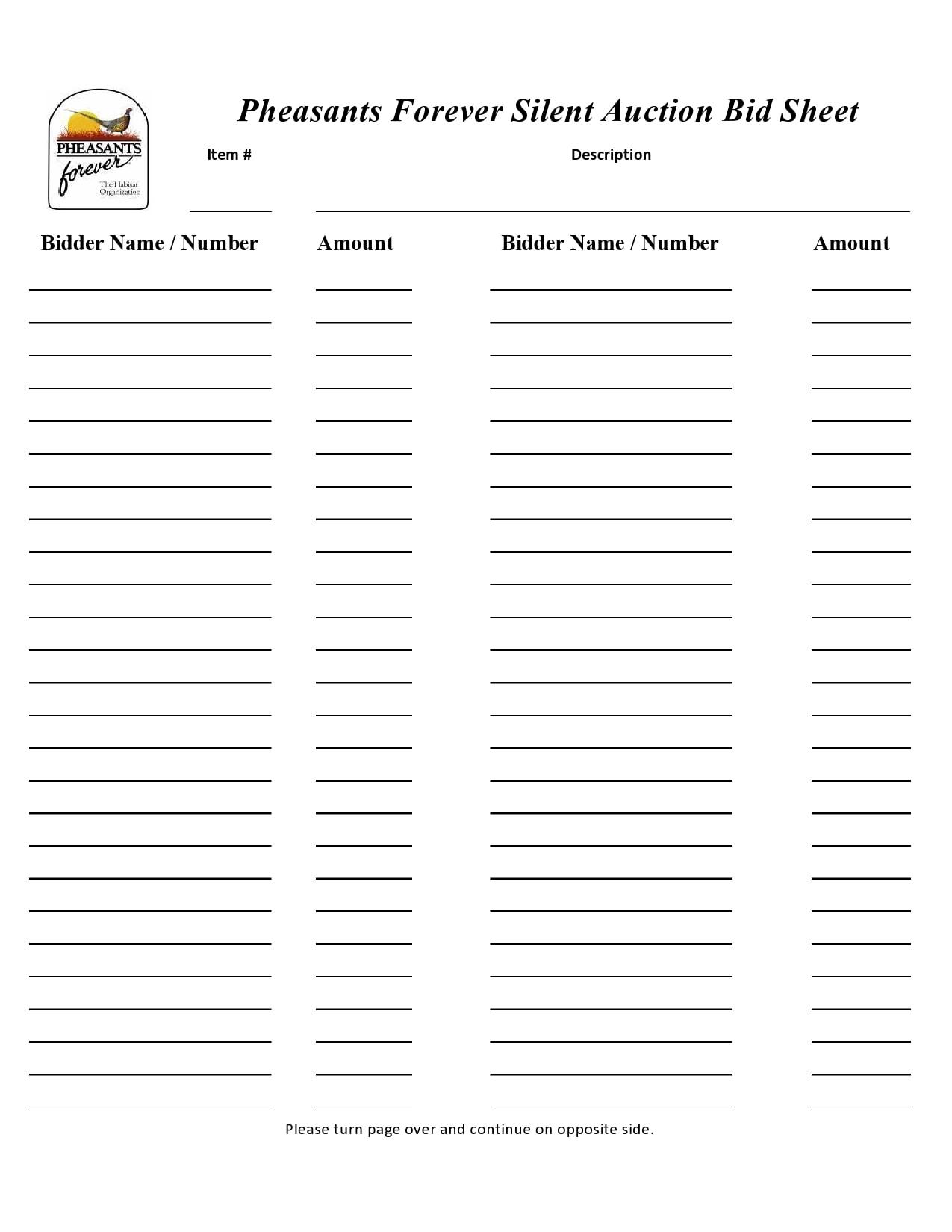 silent auction bid sheet 26