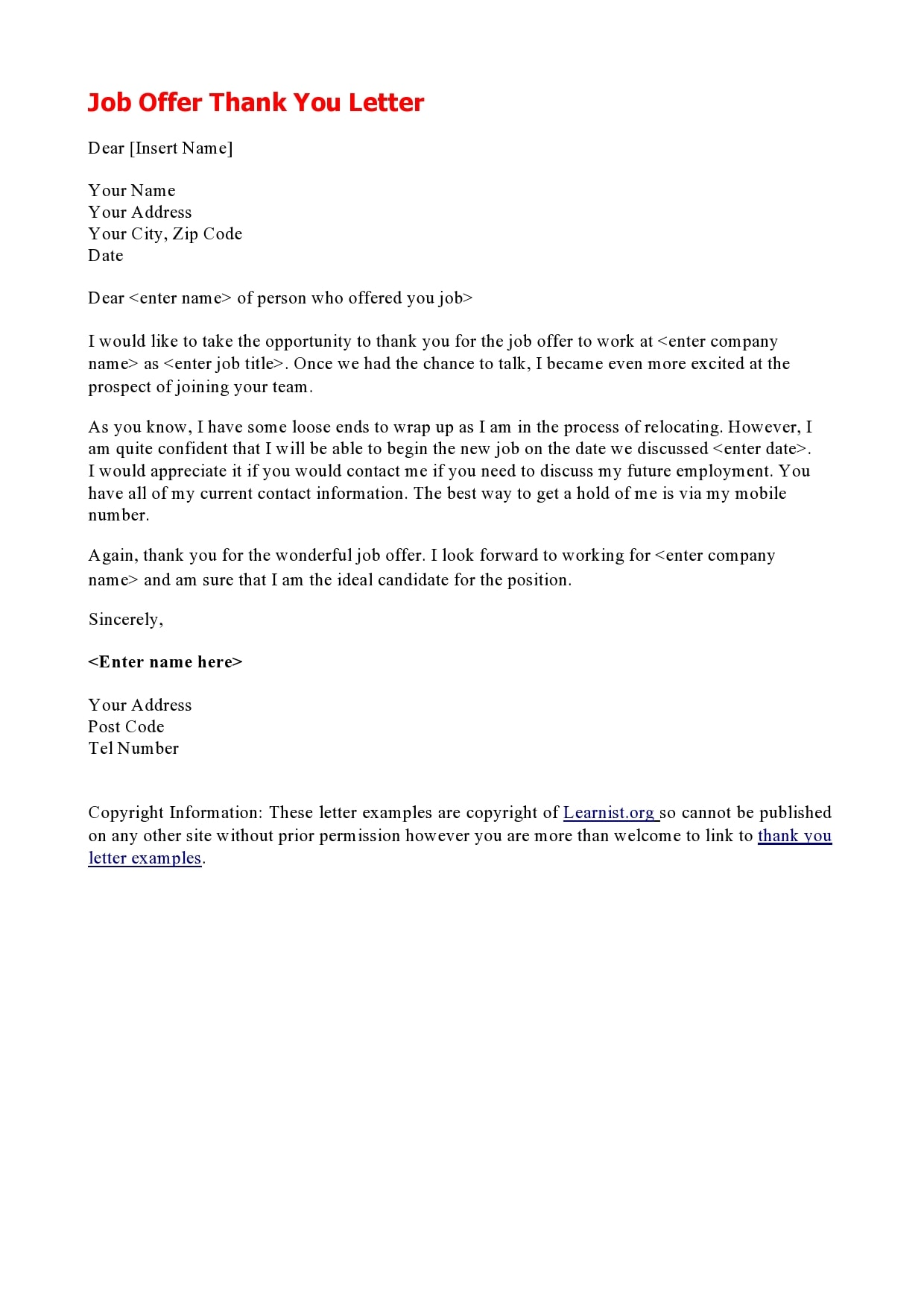 Thank You For Hiring Me Letter Template from templatearchive.com