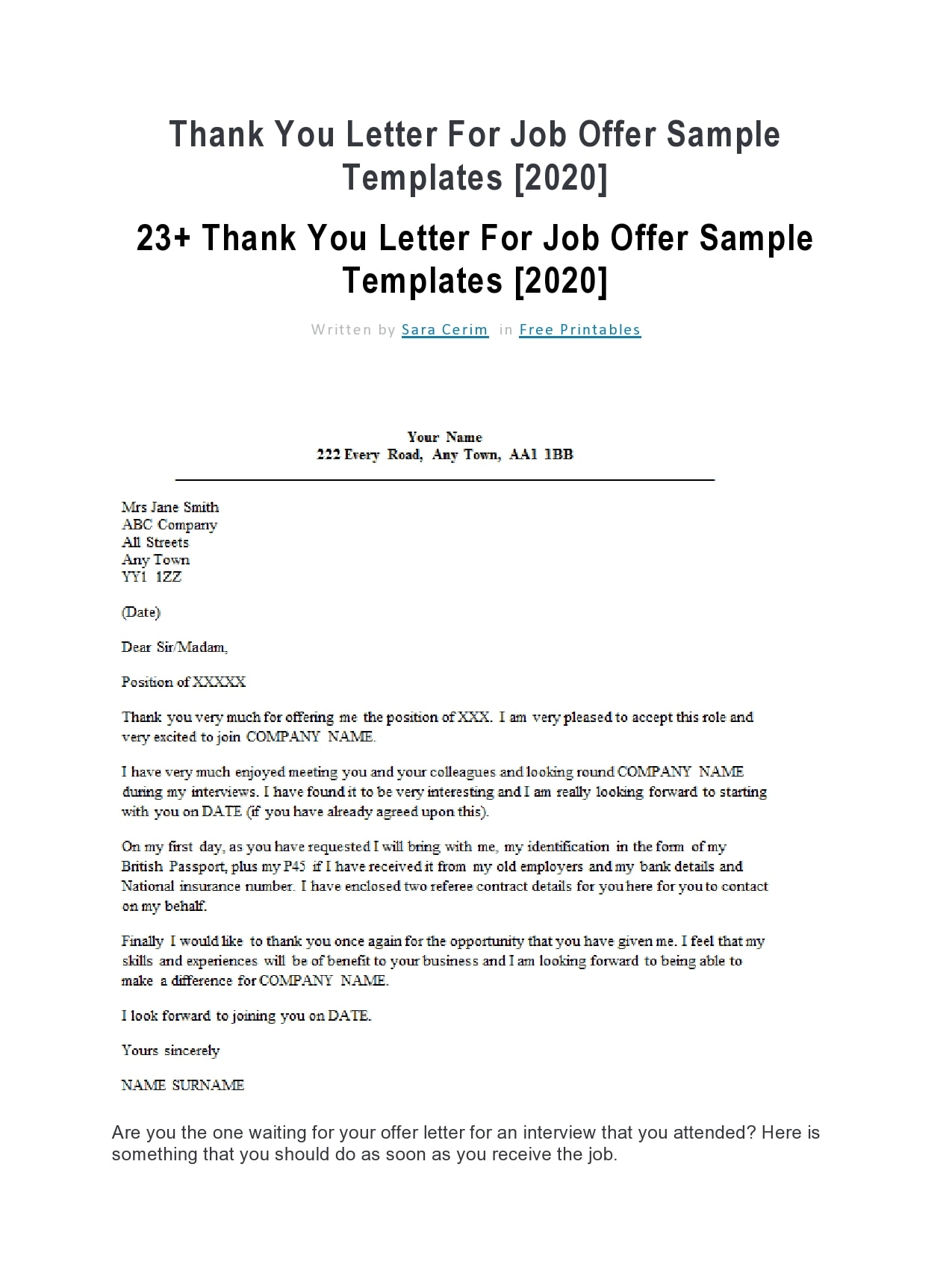thank you letter for job offer 06
