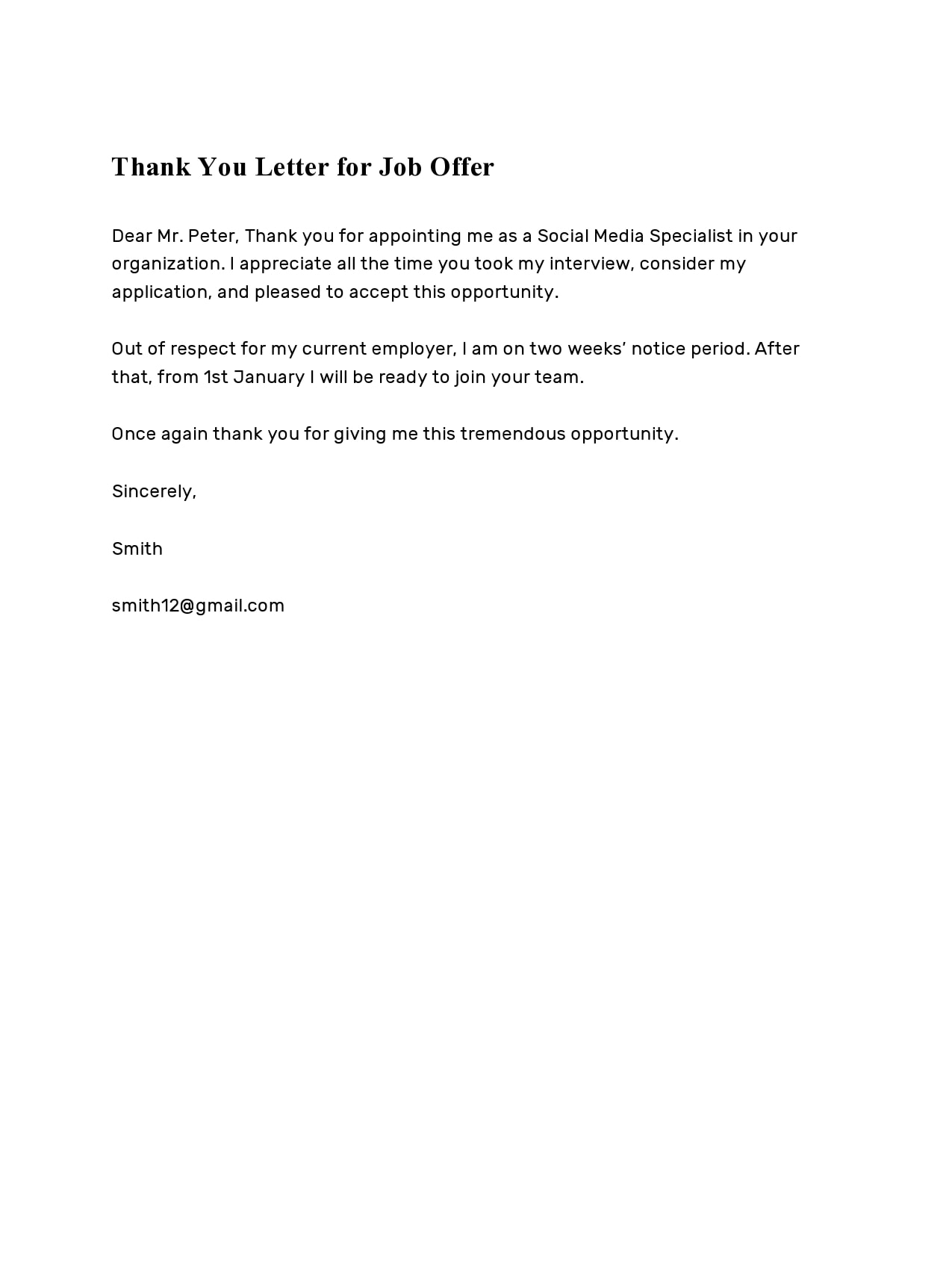 Employer Thank You Letter from templatearchive.com