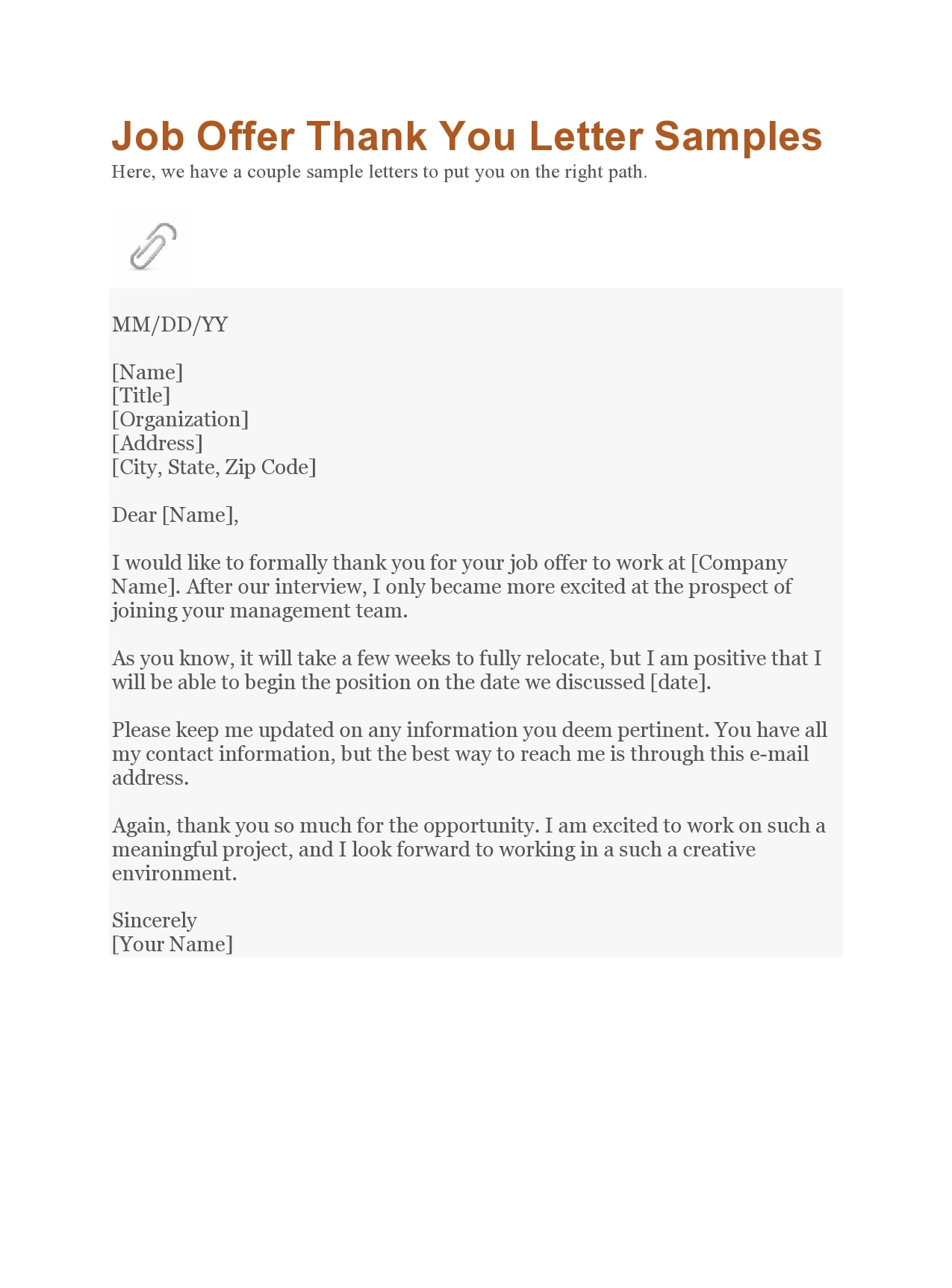 Thank You Letter After Getting Hired from templatearchive.com