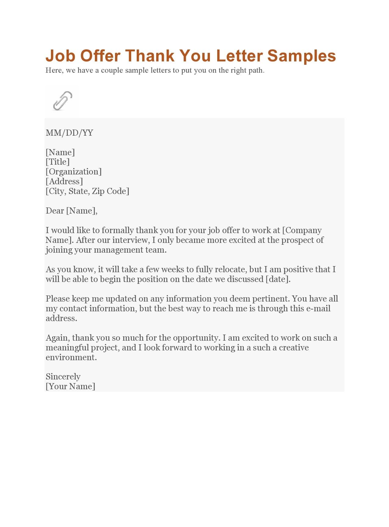 thank you letter for job offer 22