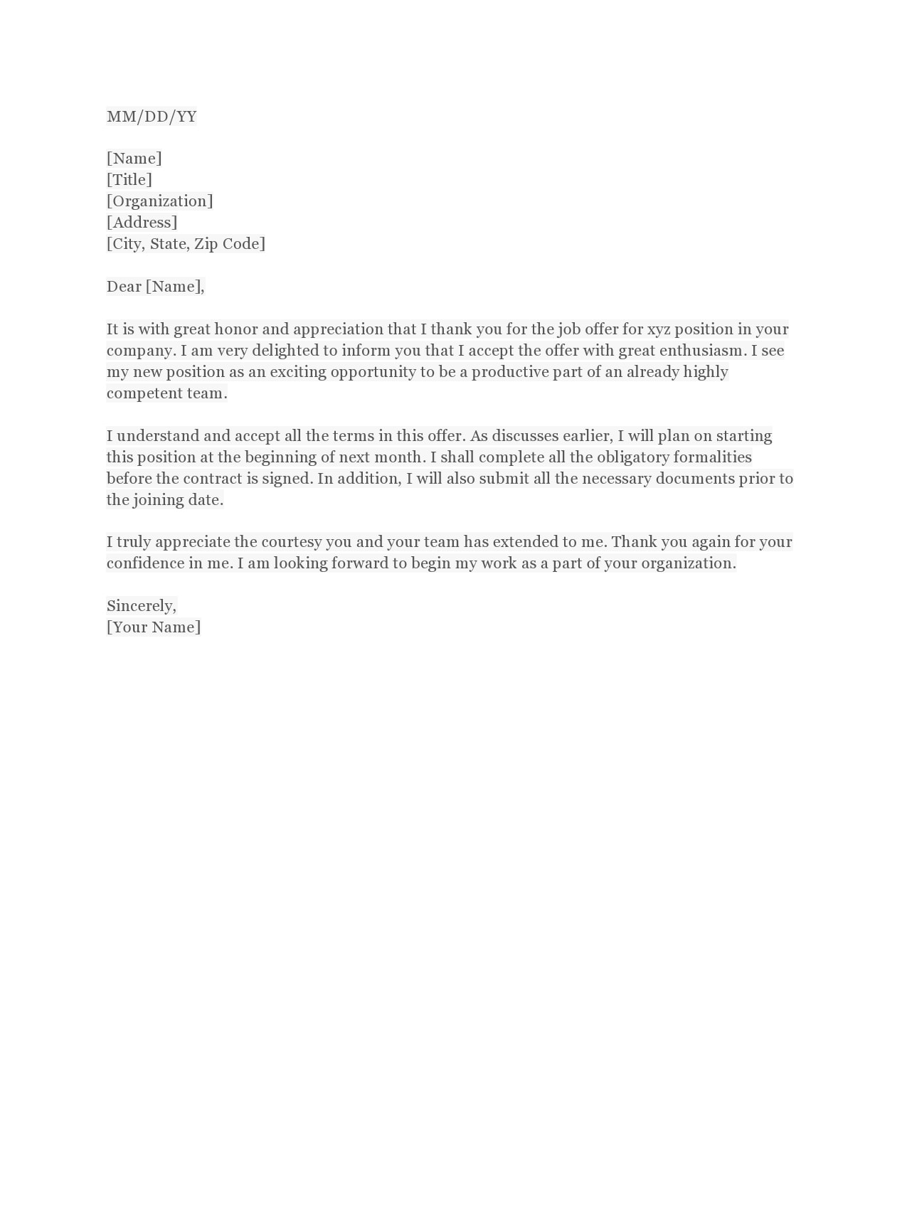 Letter Of Acceptance Job Offer from templatearchive.com