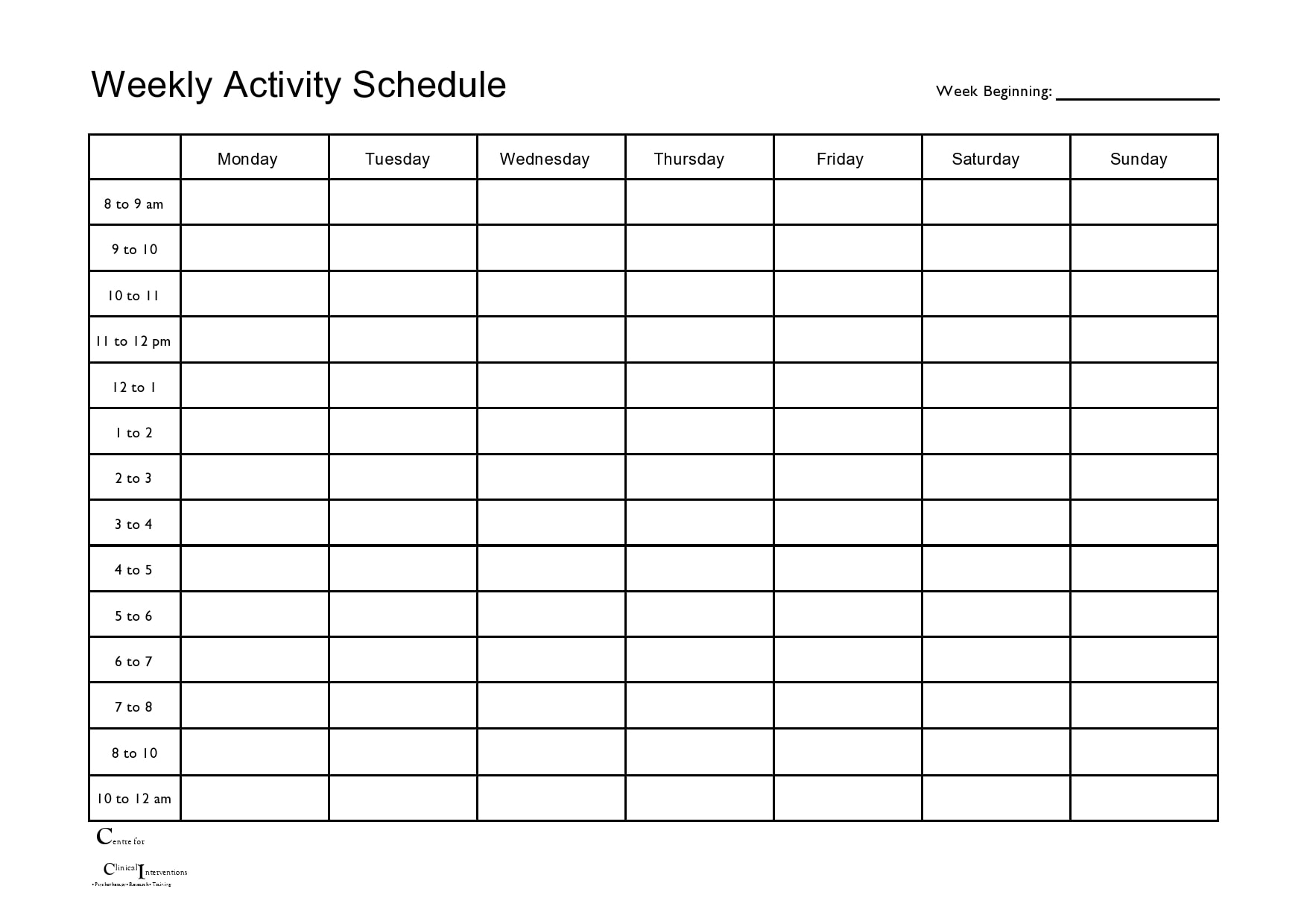 weekly schedule template 13