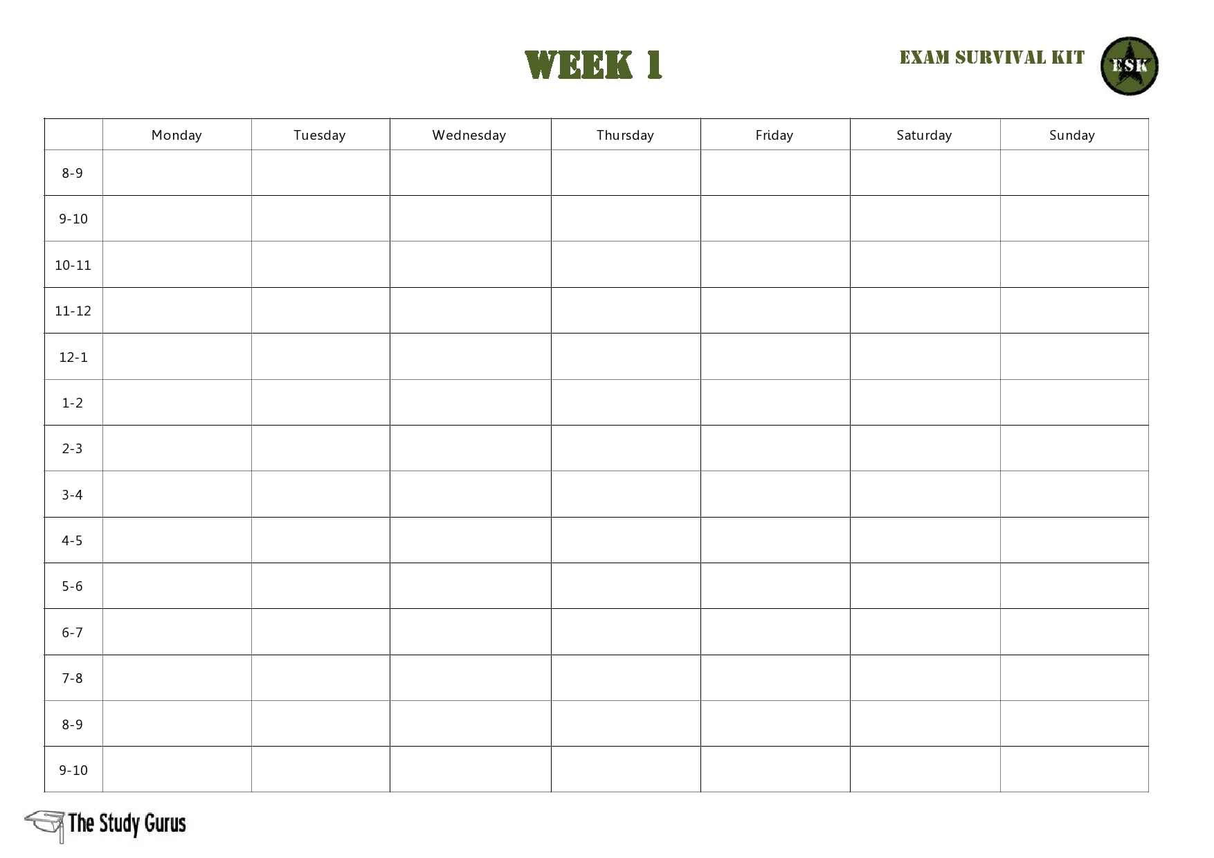 weekly schedule template 15