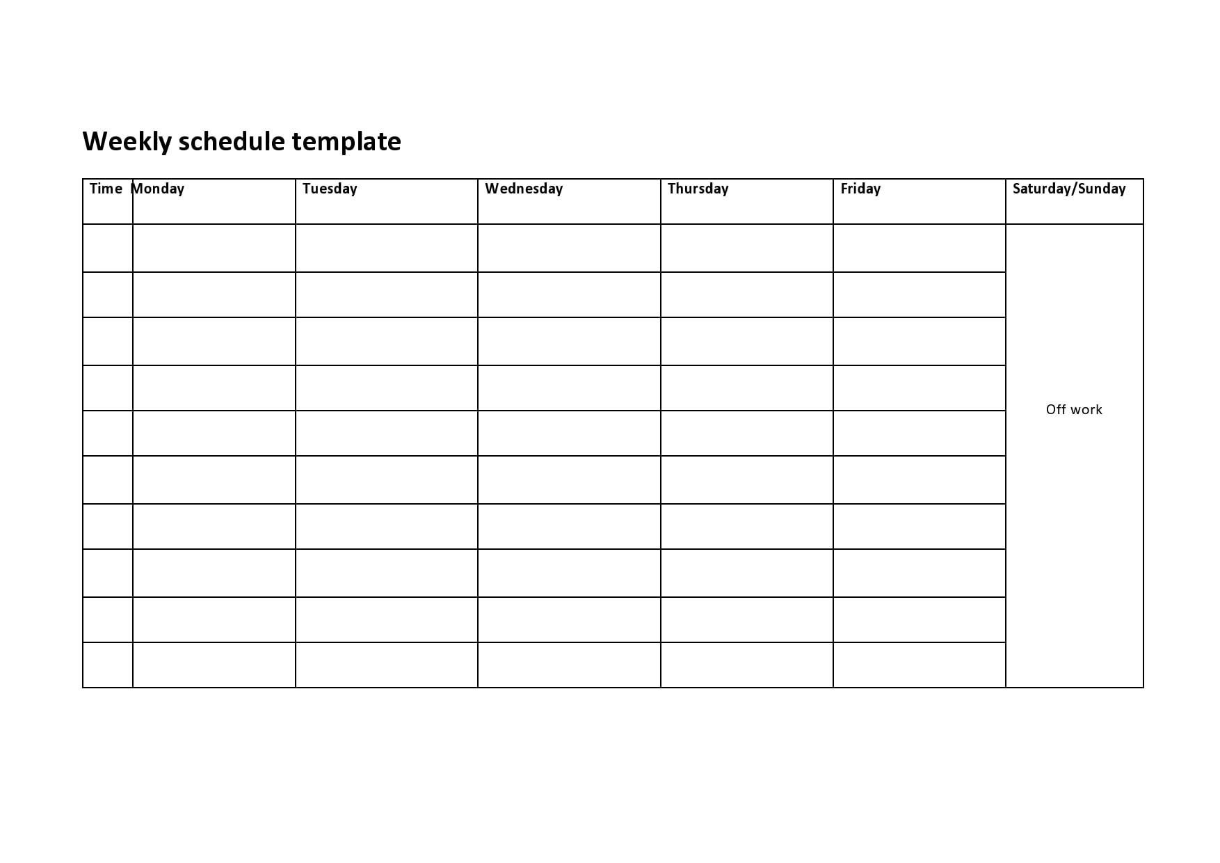weekly schedule template 17