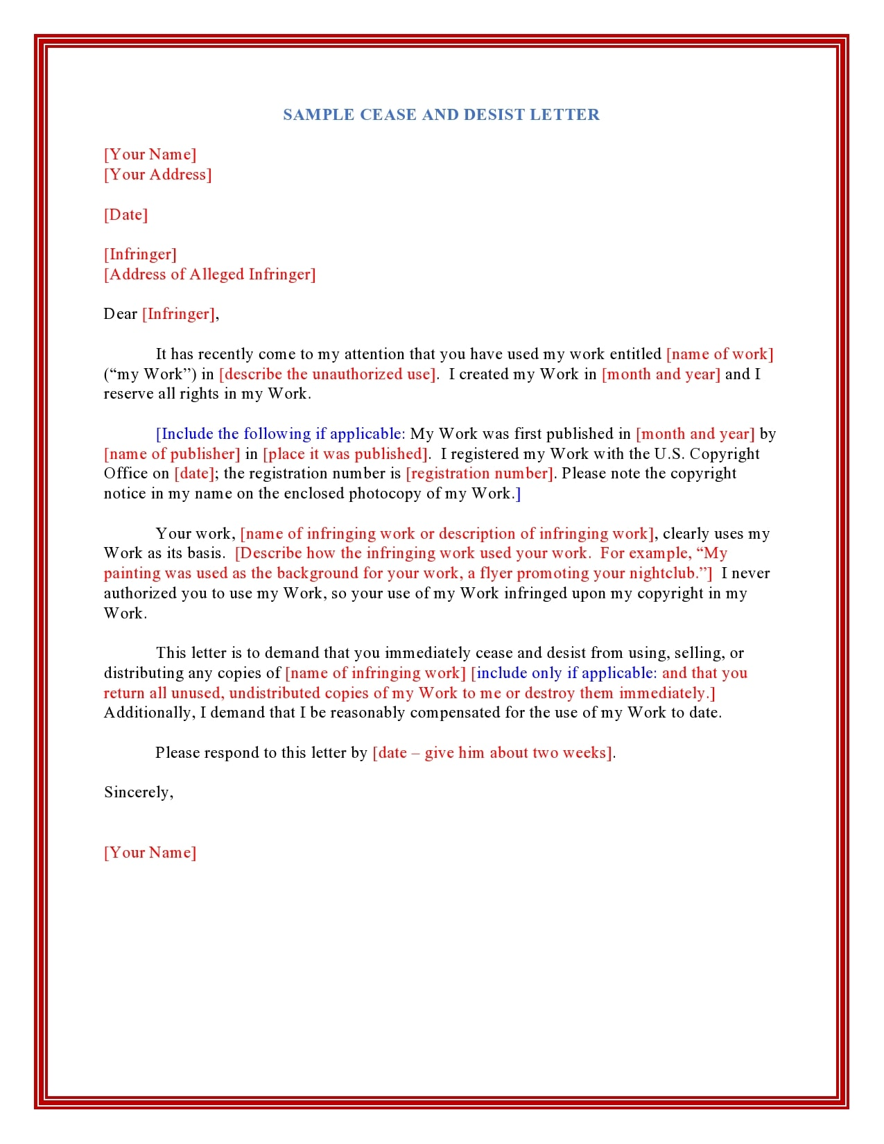Sample Cease And Desist Letter Trademark Infringement from templatearchive.com