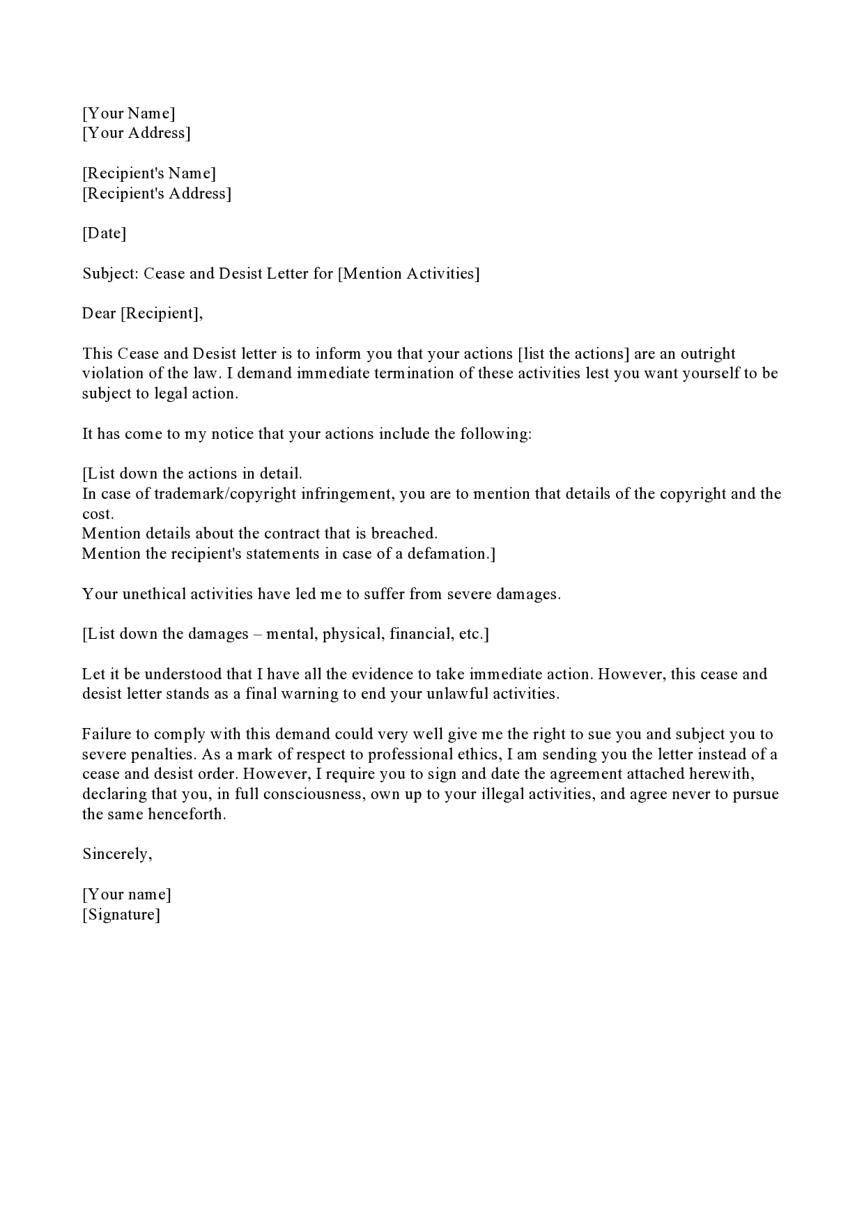 Cease And Desist Letter Copyright Infringement Template from templatearchive.com