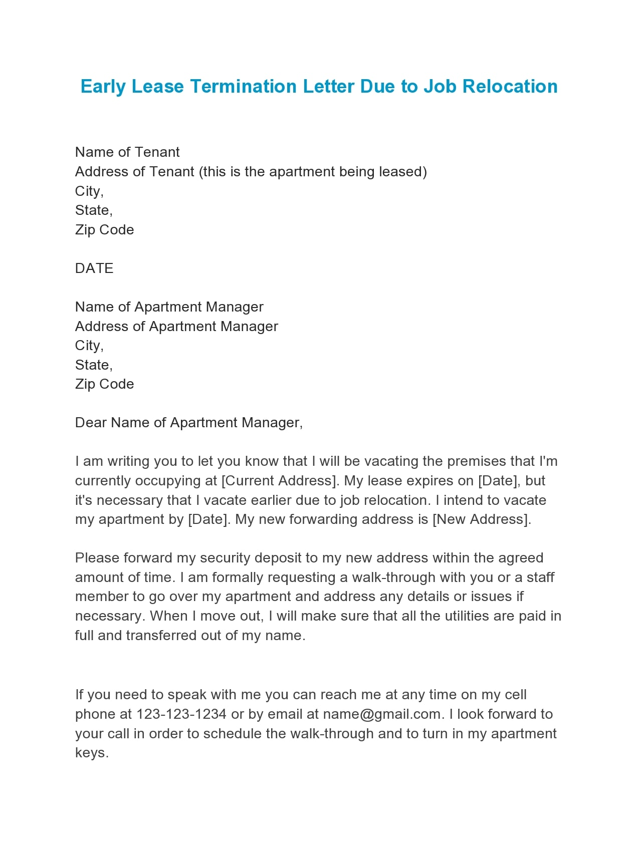early lease termination letter 09