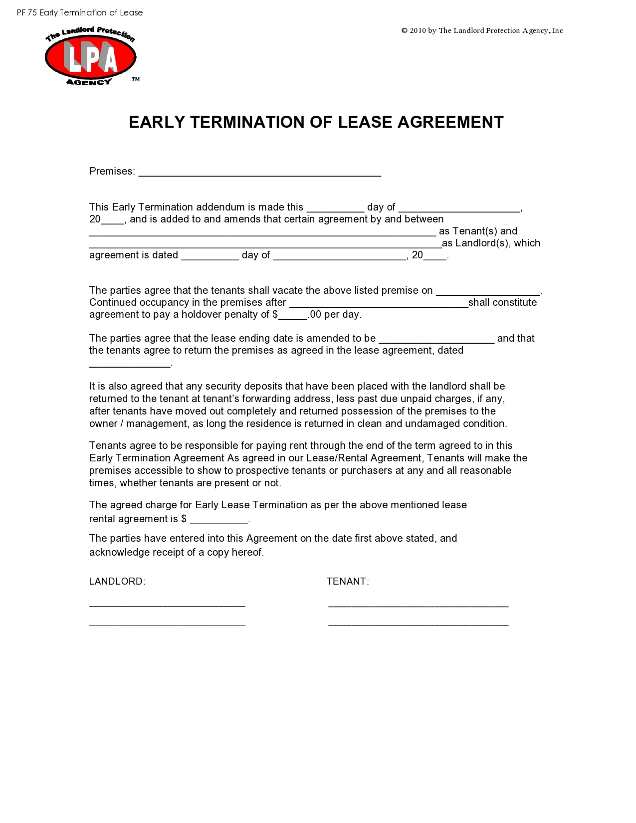 early lease termination letter 12
