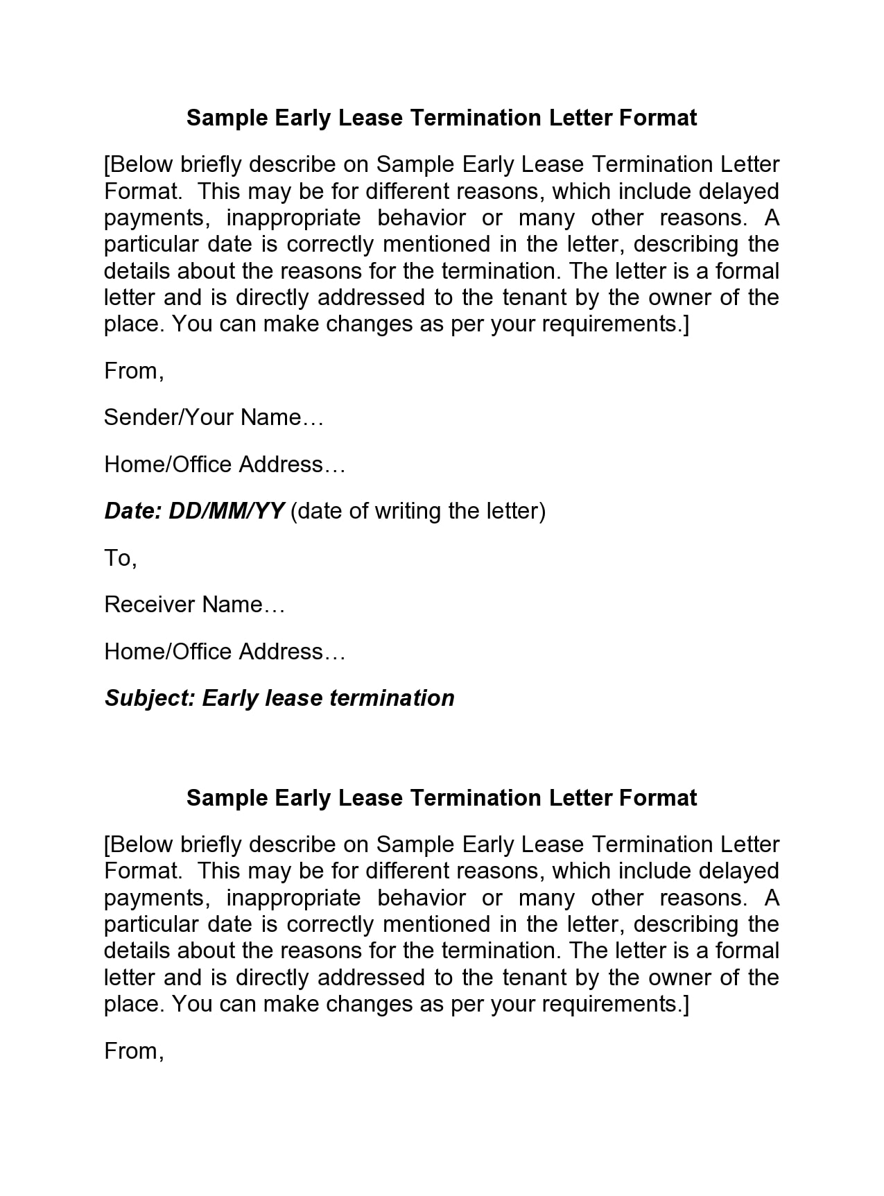 early lease termination letter 17