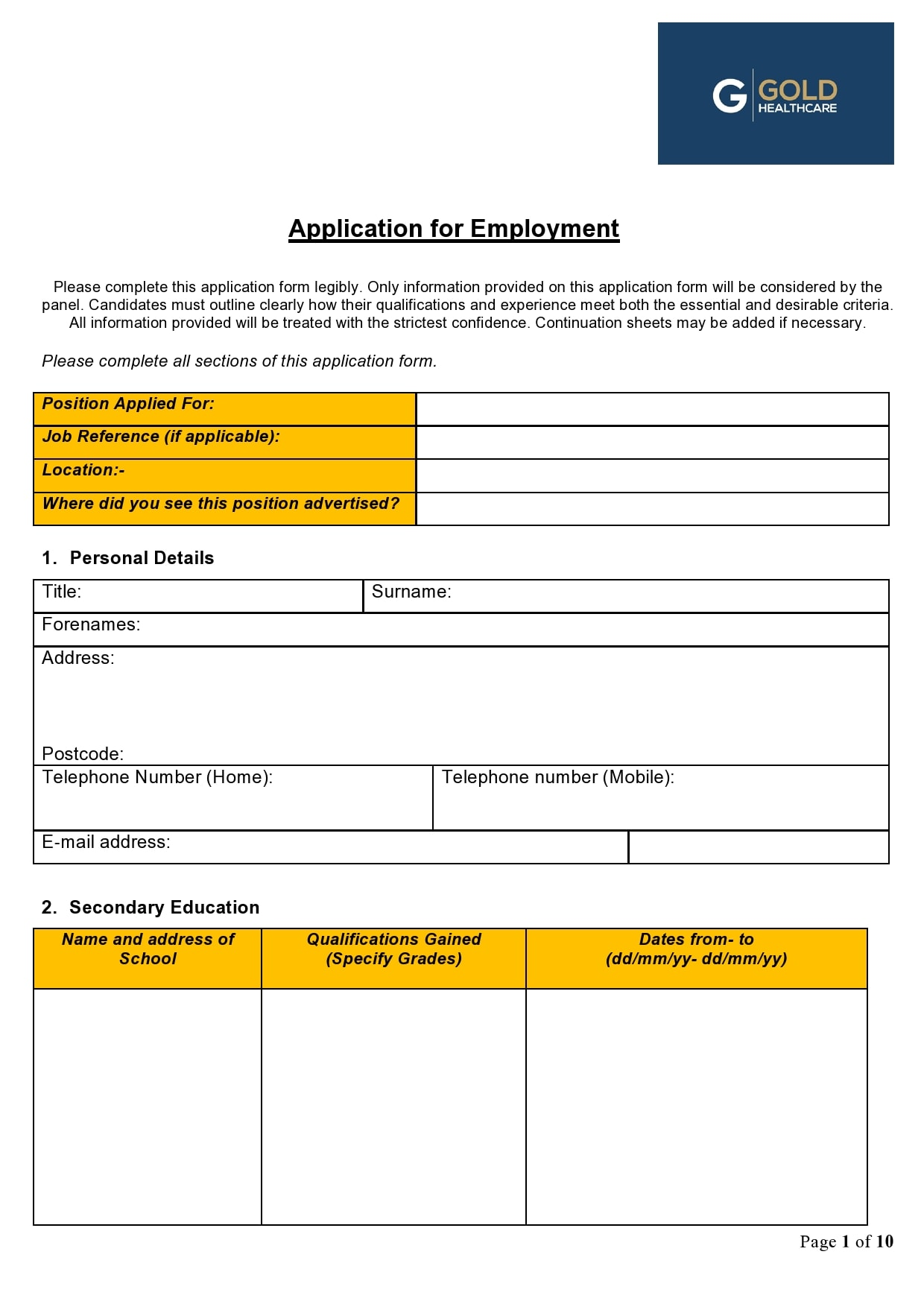 employment application template 04