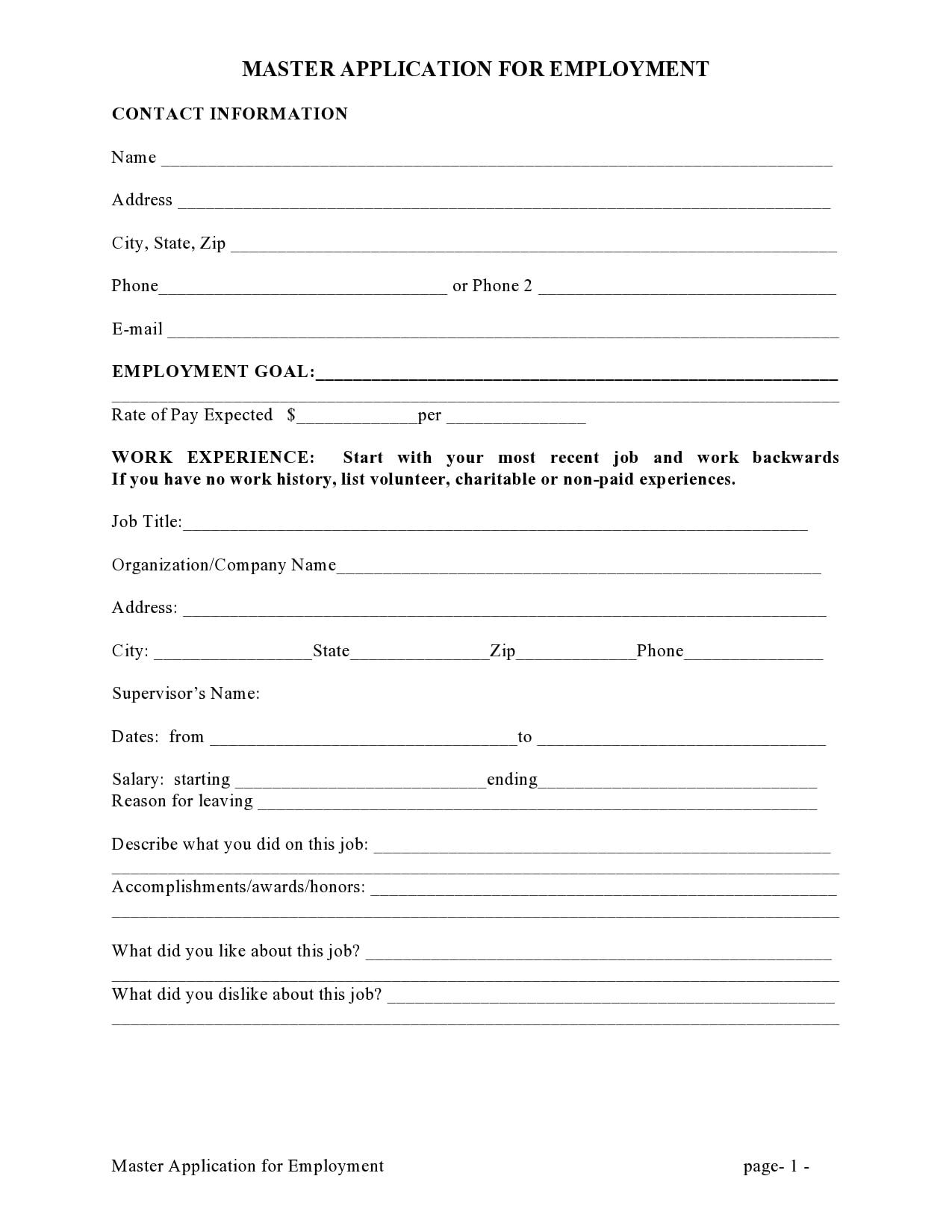 employment application template 15
