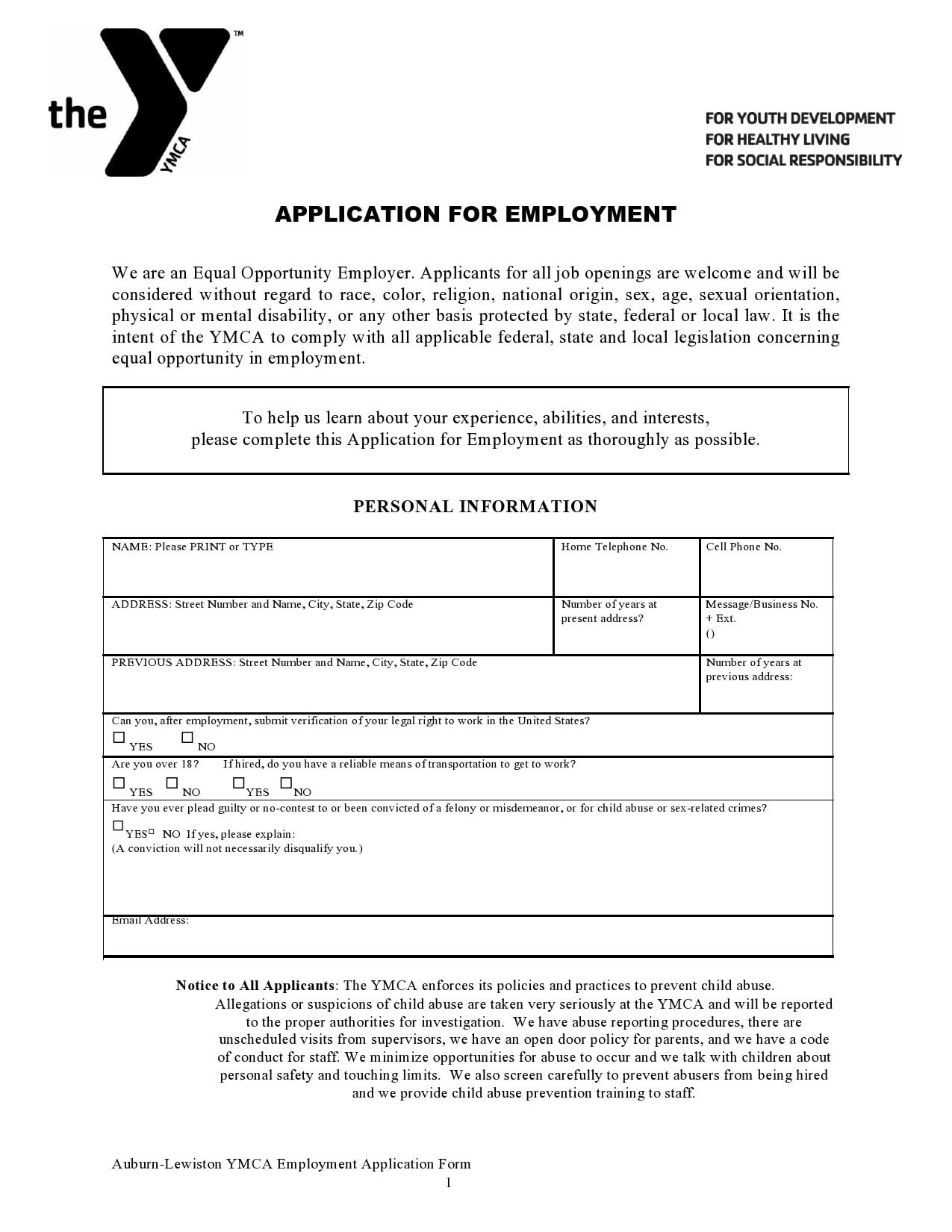 employment application template 20