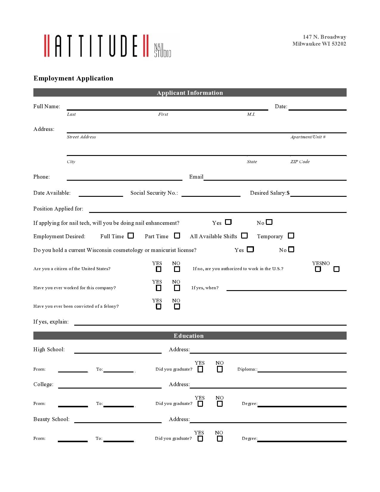 employment application template 23