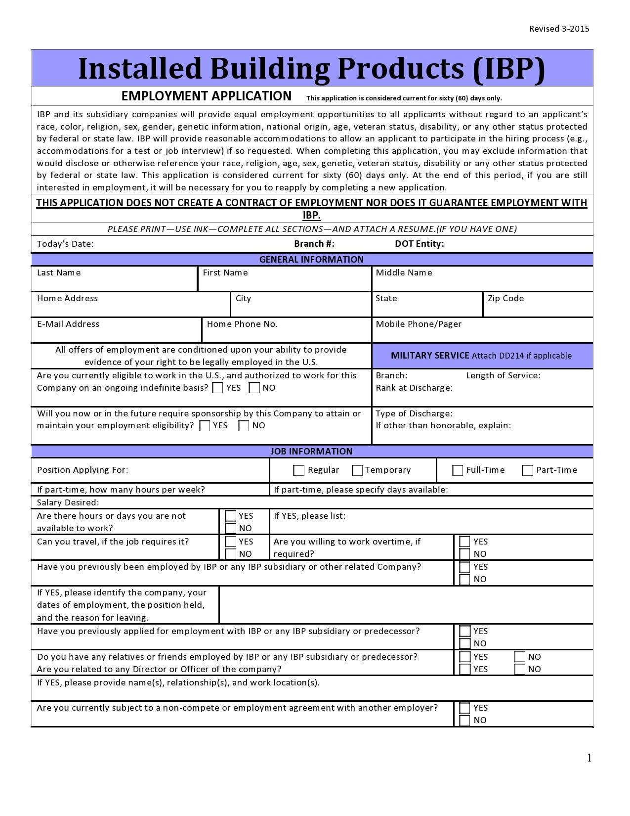 employment application template 26