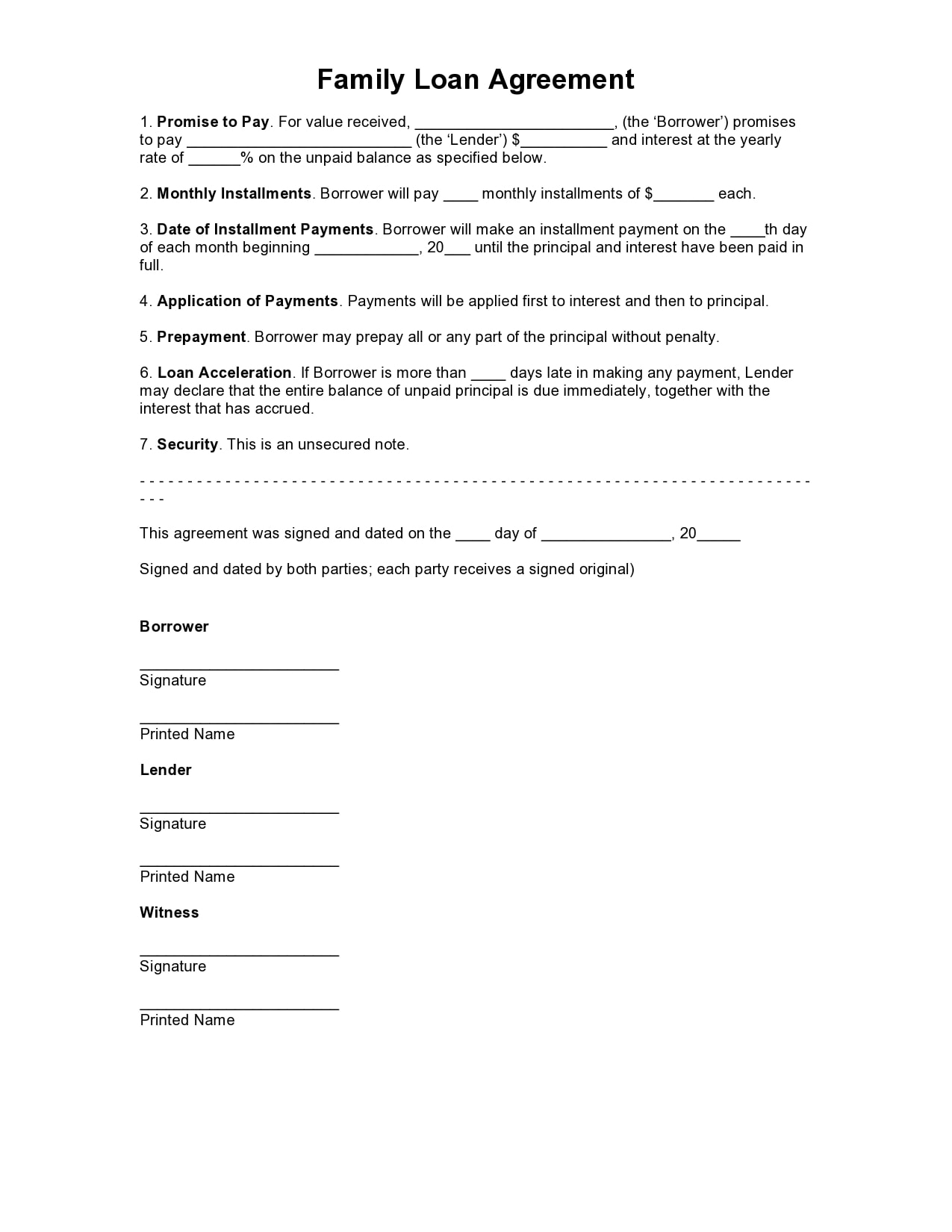 30 Simple Family Loan Agreement Templates 30 Free
