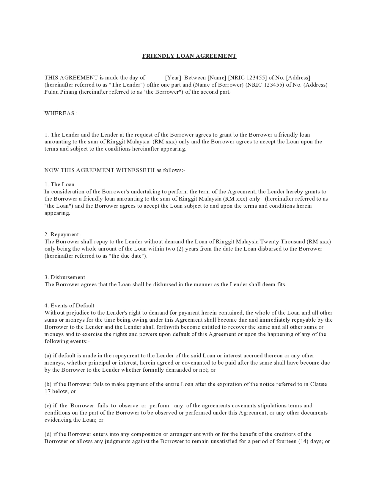 family loan agreement 09