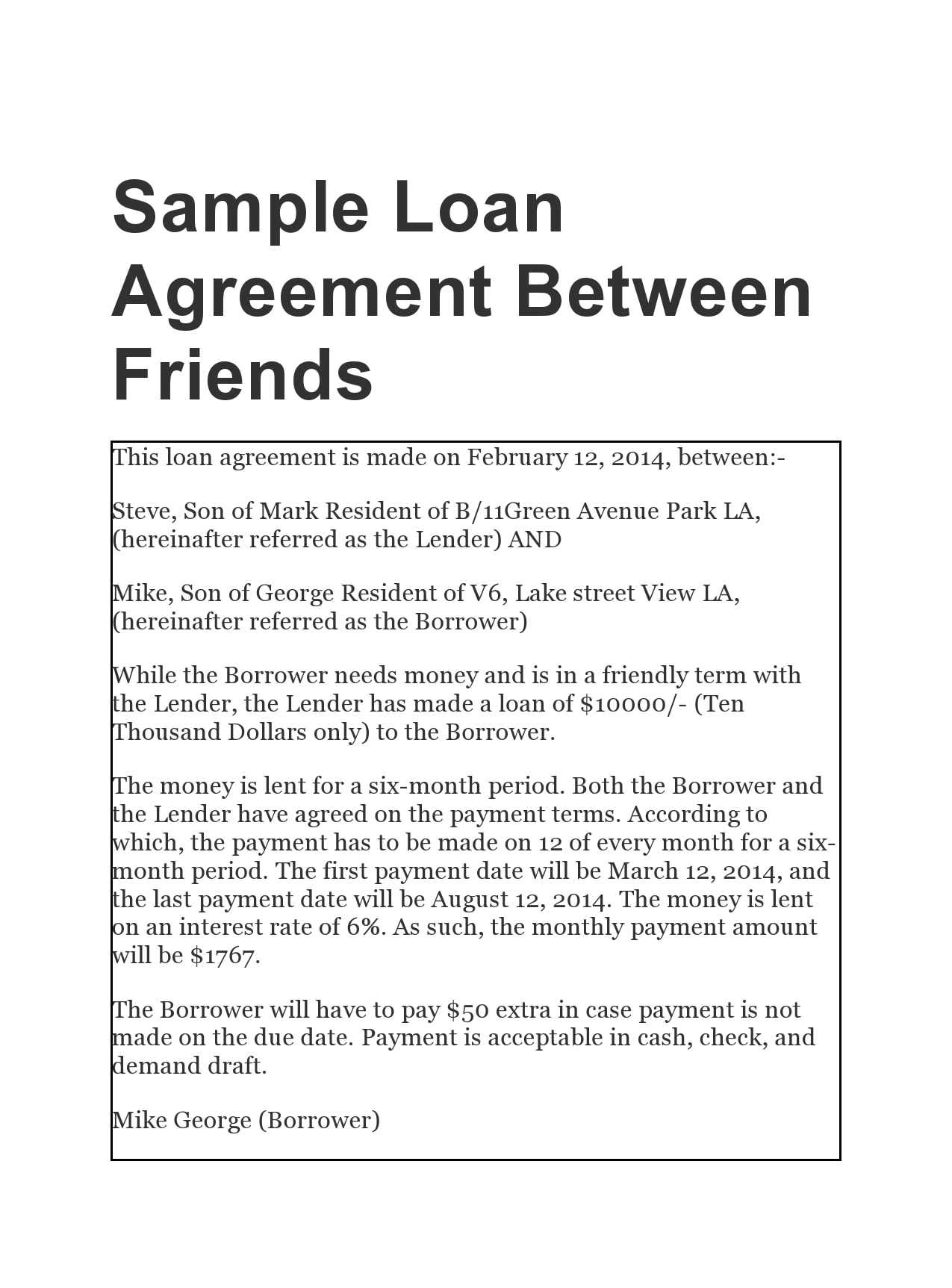 family loan agreement 10