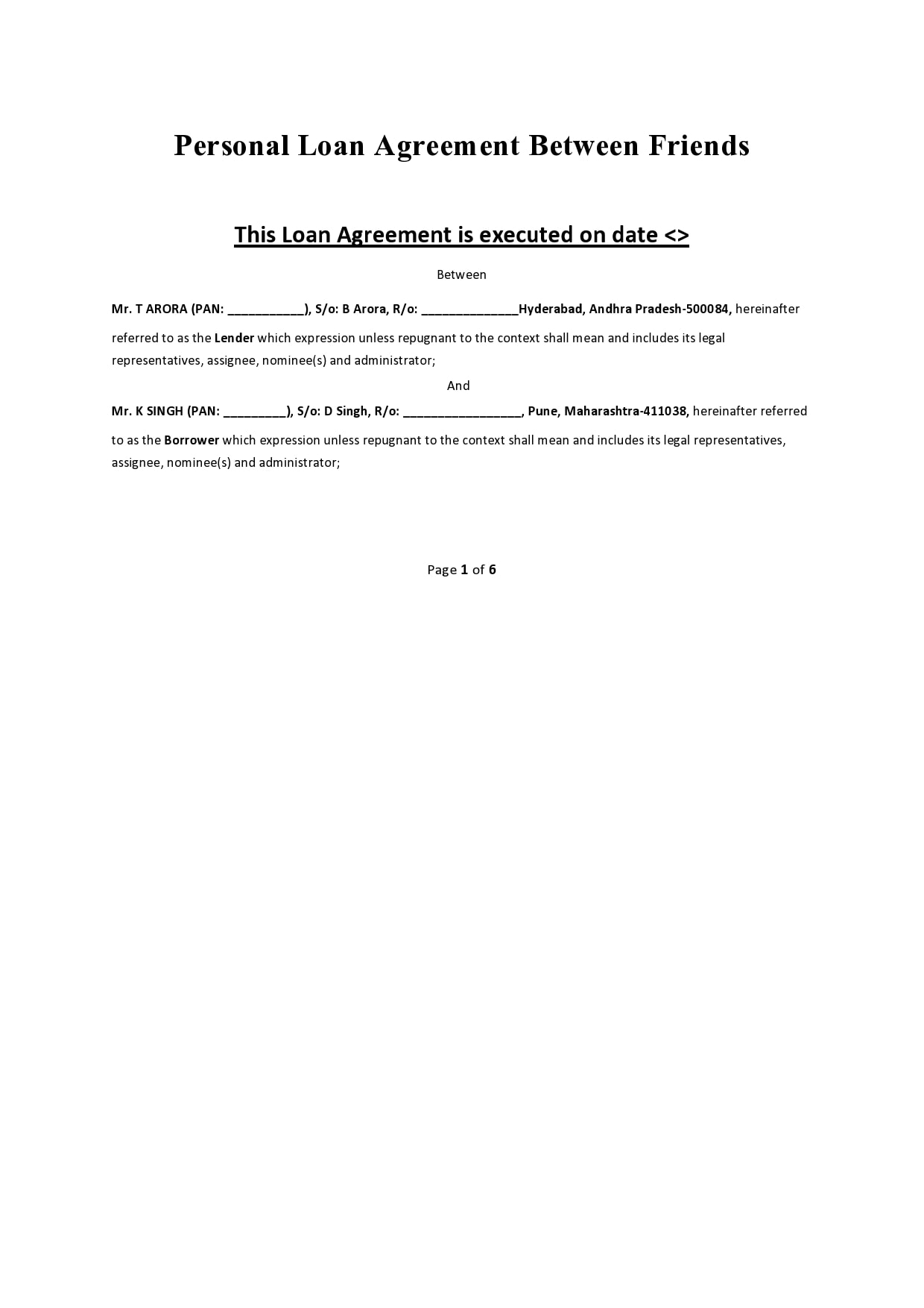 family loan agreement 14
