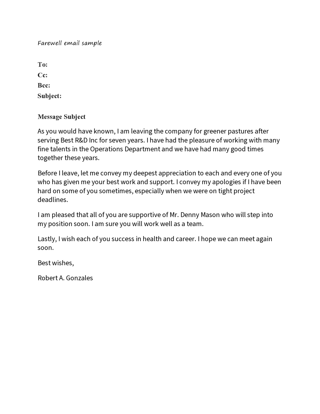 Letter To Colleagues After Resignation from templatearchive.com