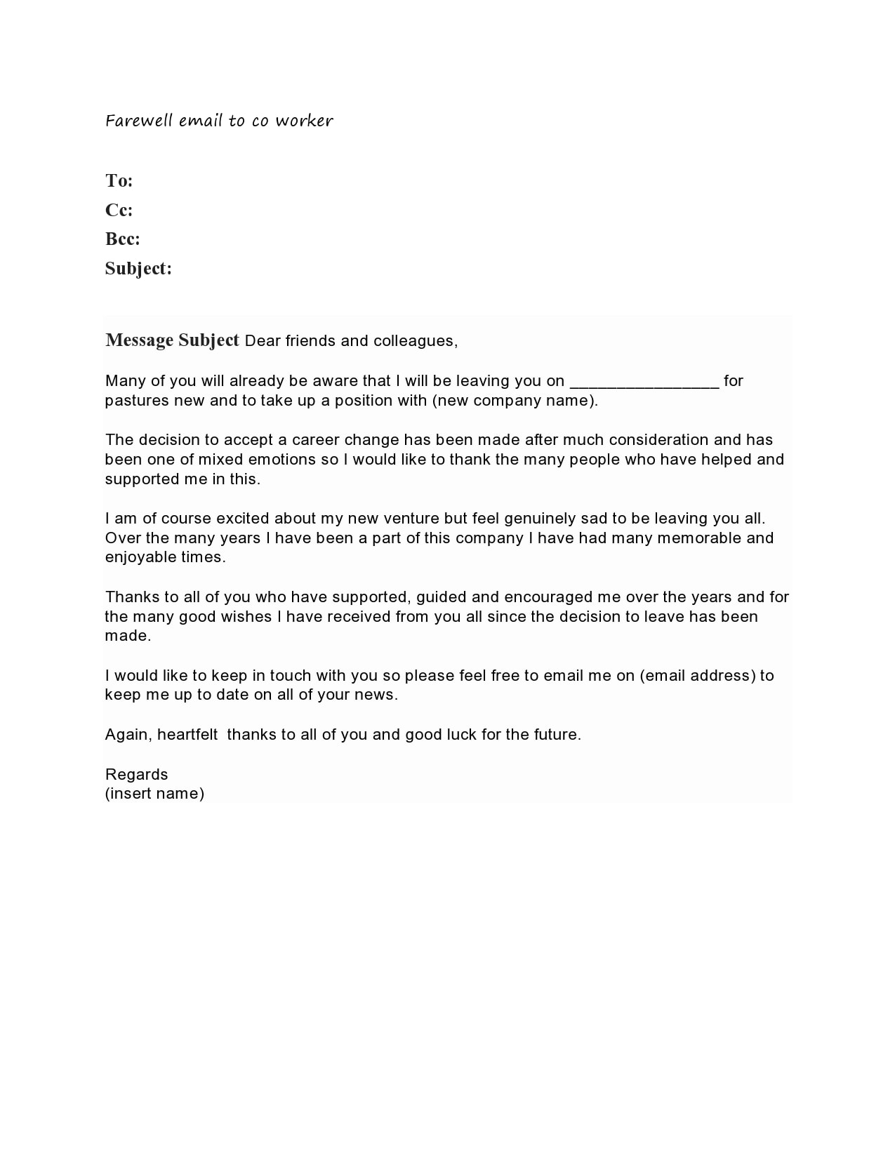 Farewell Letter To Colleagues Leaving from templatearchive.com