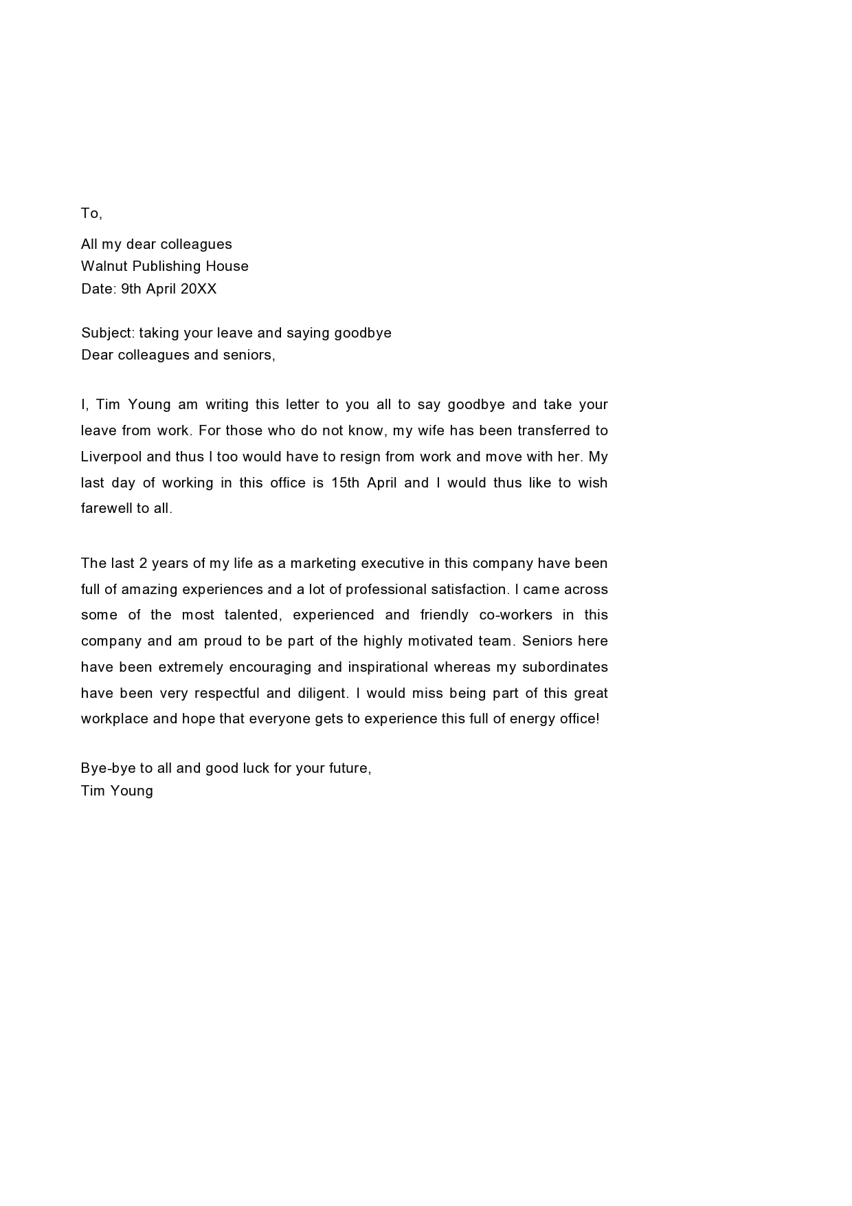 Resignation Letter To Coworkers from templatearchive.com