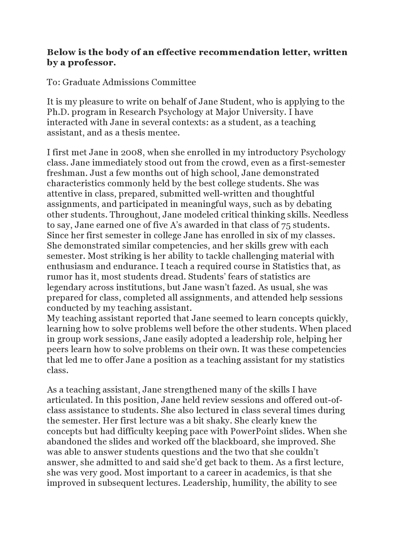 Recommendation Letter For Graduate Admission from templatearchive.com