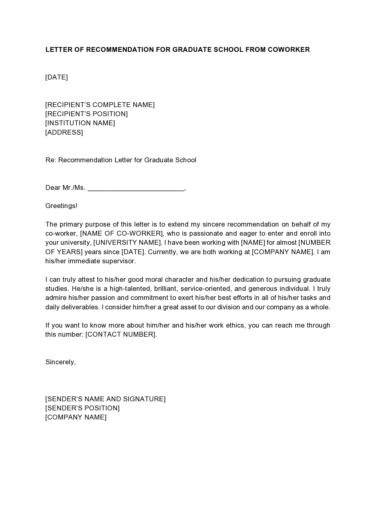 letter of recommendation for graduate school 08