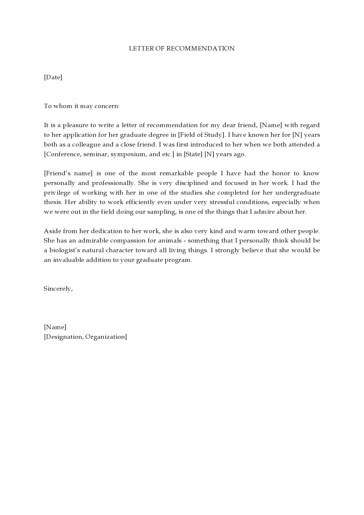 letter of recommendation for graduate school 10