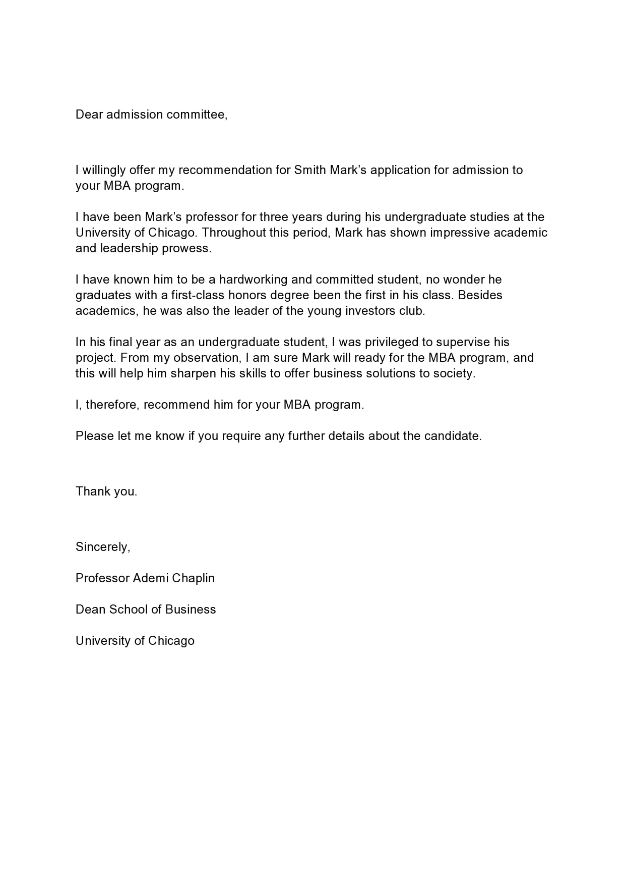 Sample Of Recommendation Letter For University Admission from templatearchive.com