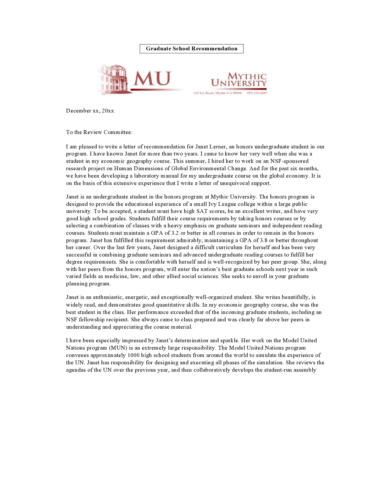 letter of recommendation for graduate school 25