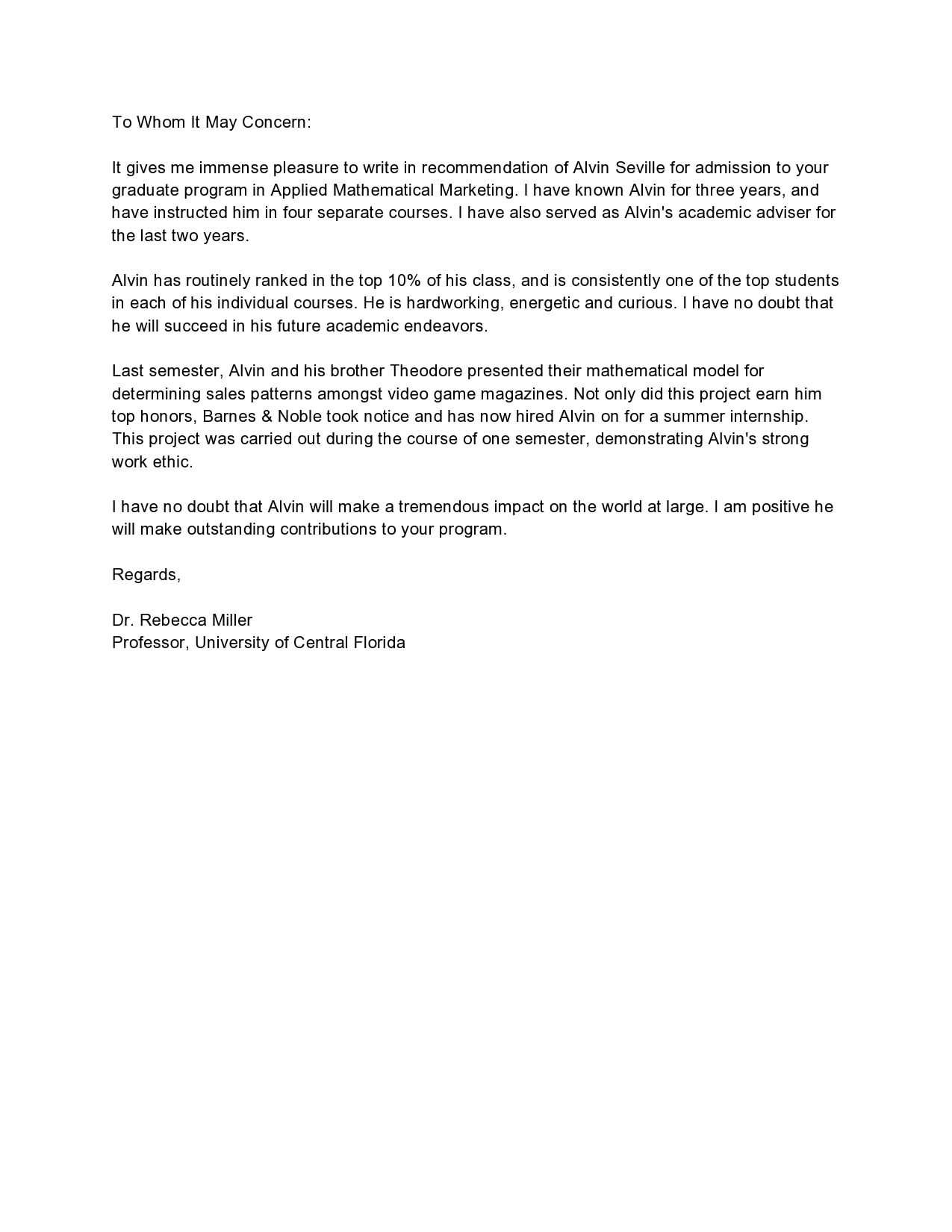 Sample Recommendation Letter For Intern from templatearchive.com