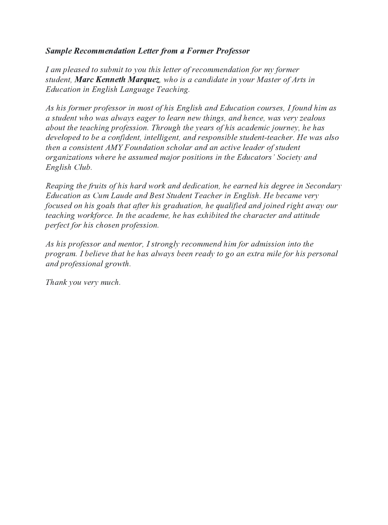 Recommendation Letter For Colleague Professor from templatearchive.com