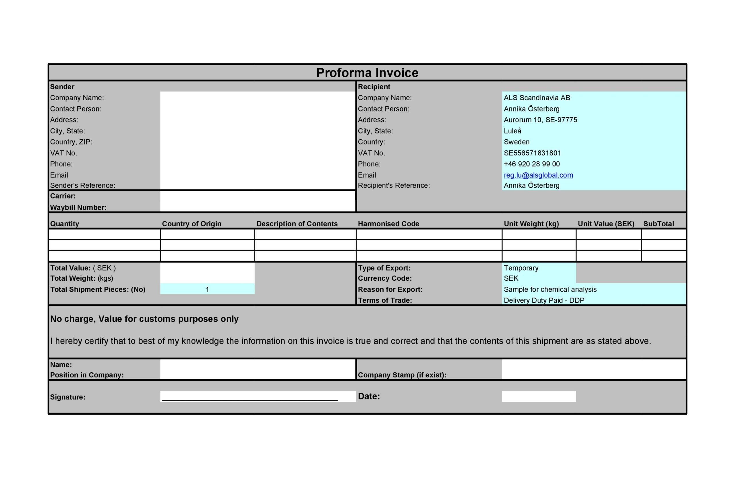 proforma invoice template 12