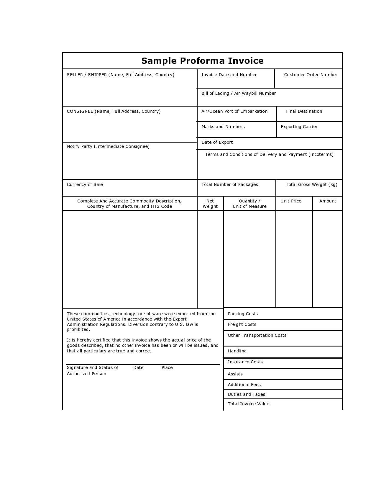 proforma invoice template 17