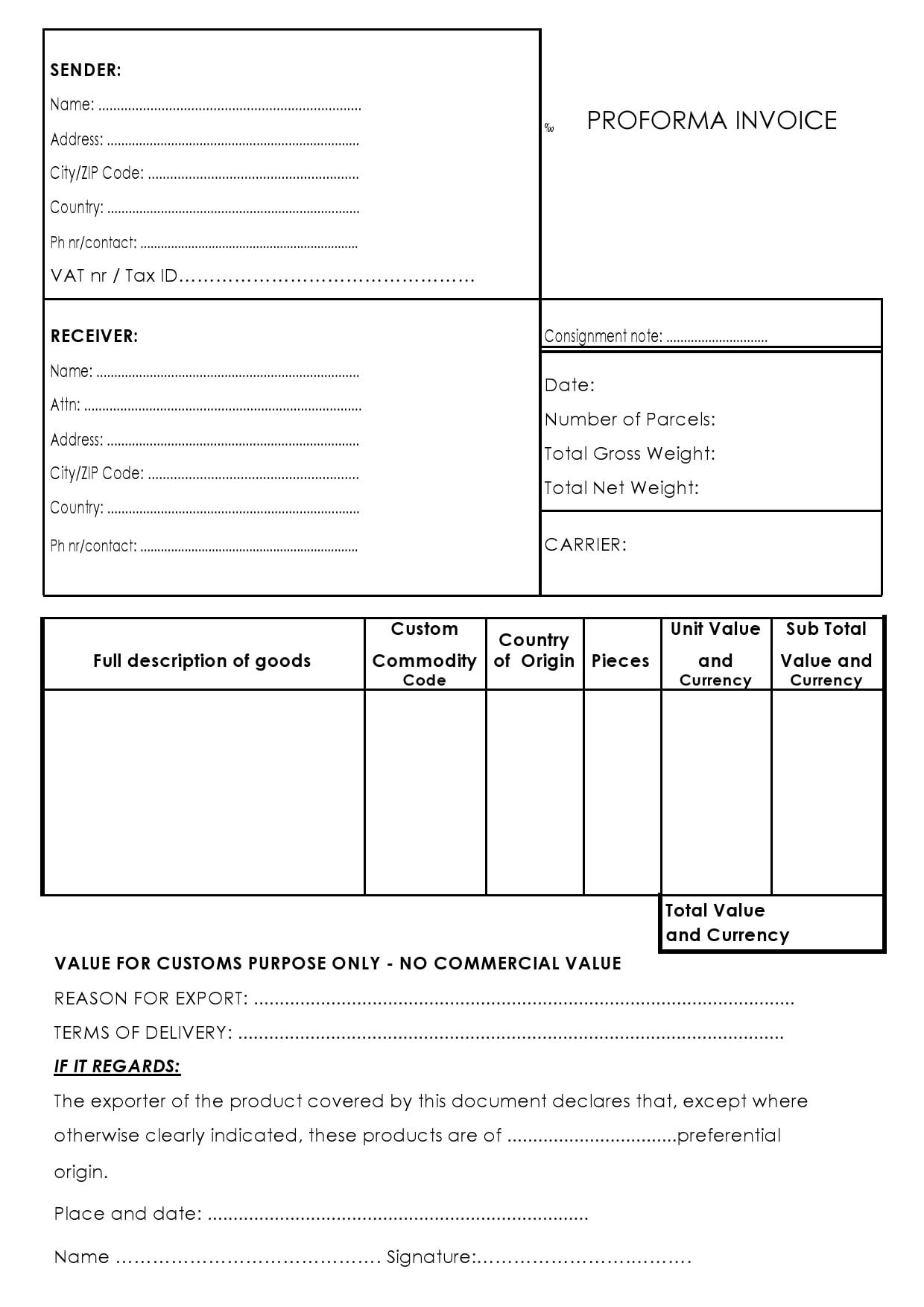 proforma invoice template 19
