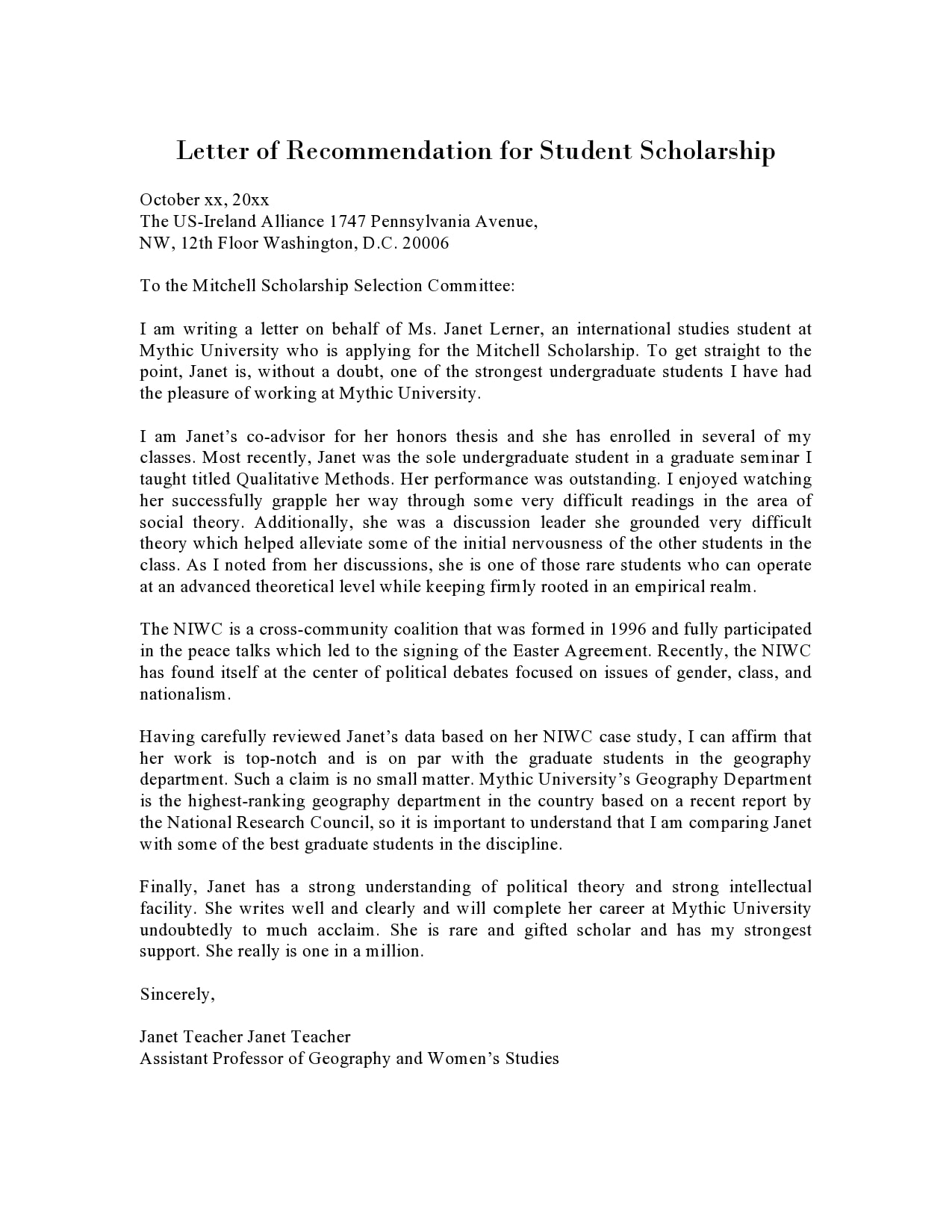 Recommendation Letter For Teacher from templatearchive.com