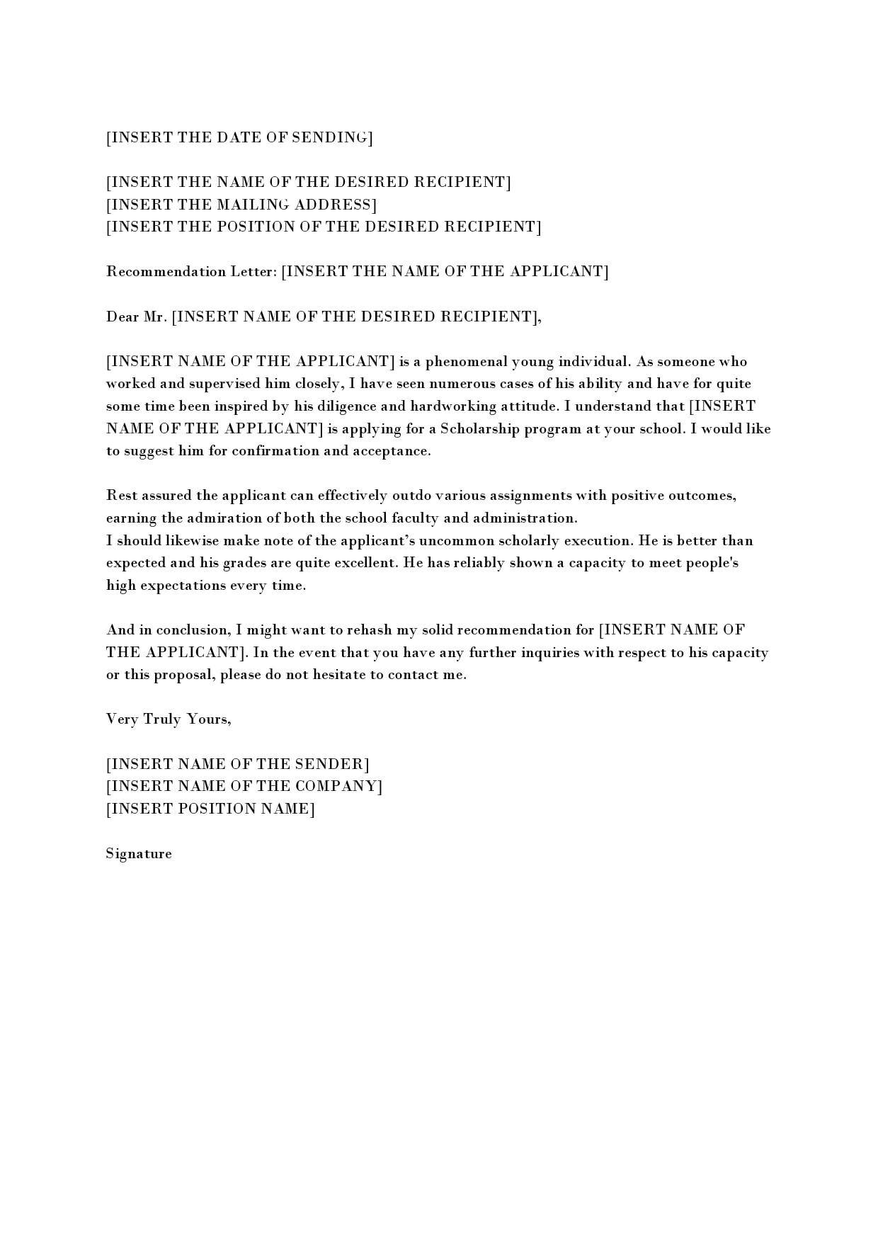 recommendation letter for scholarship 02