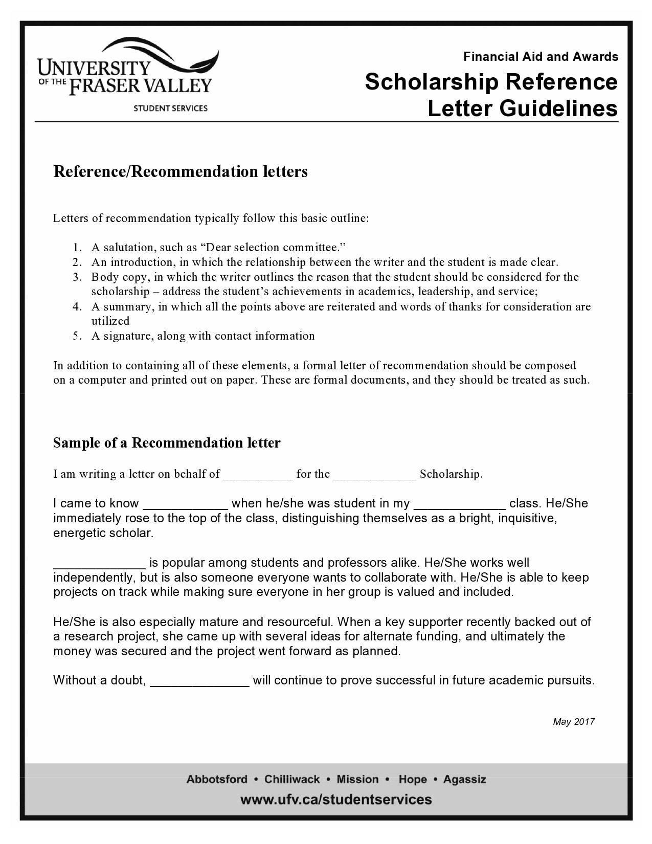 recommendation letter for scholarship 08