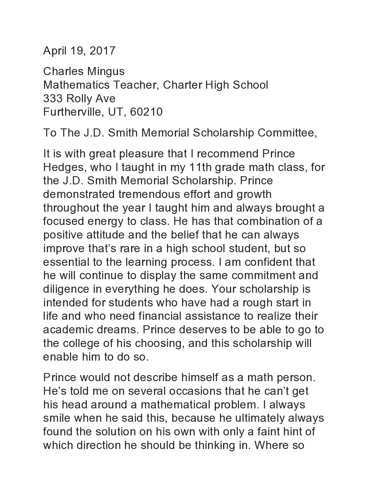recommendation letter for scholarship 09