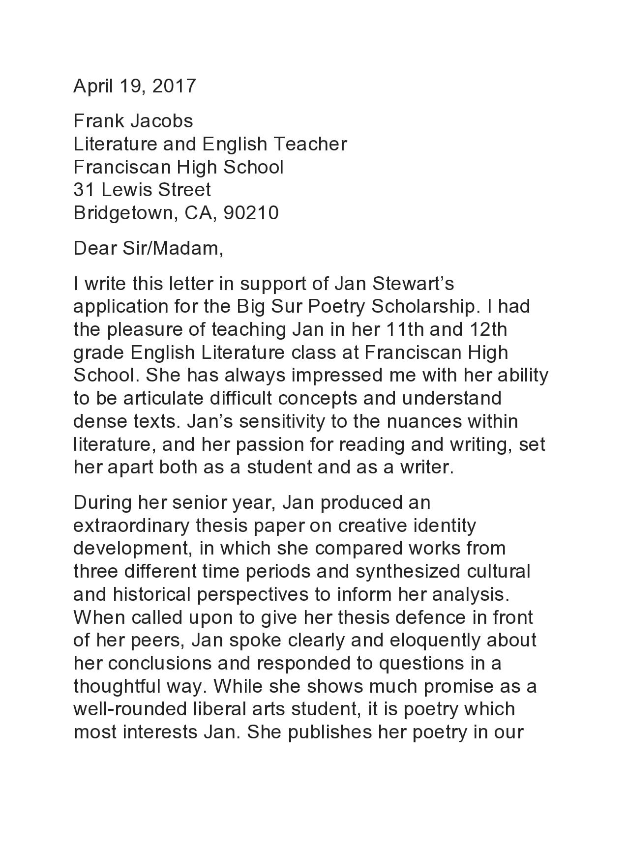 recommendation letter for scholarship 10