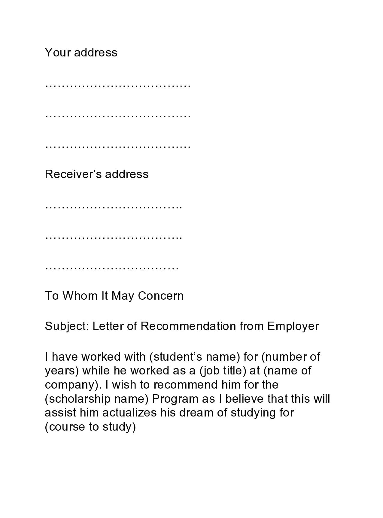 recommendation letter for scholarship 12